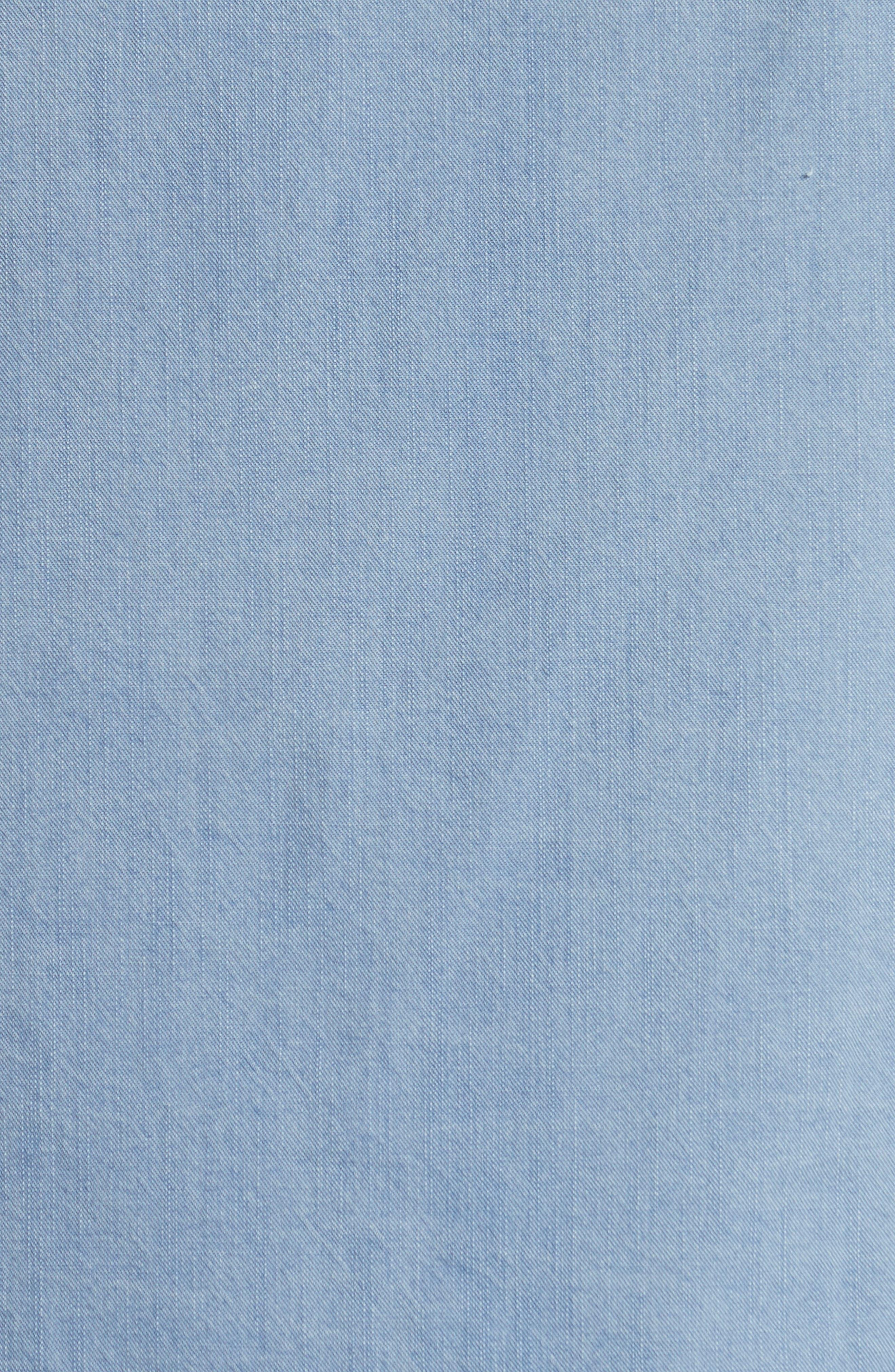Napoli Washed Denim Band Collar Shirt,                             Alternate thumbnail 5, color,                             451