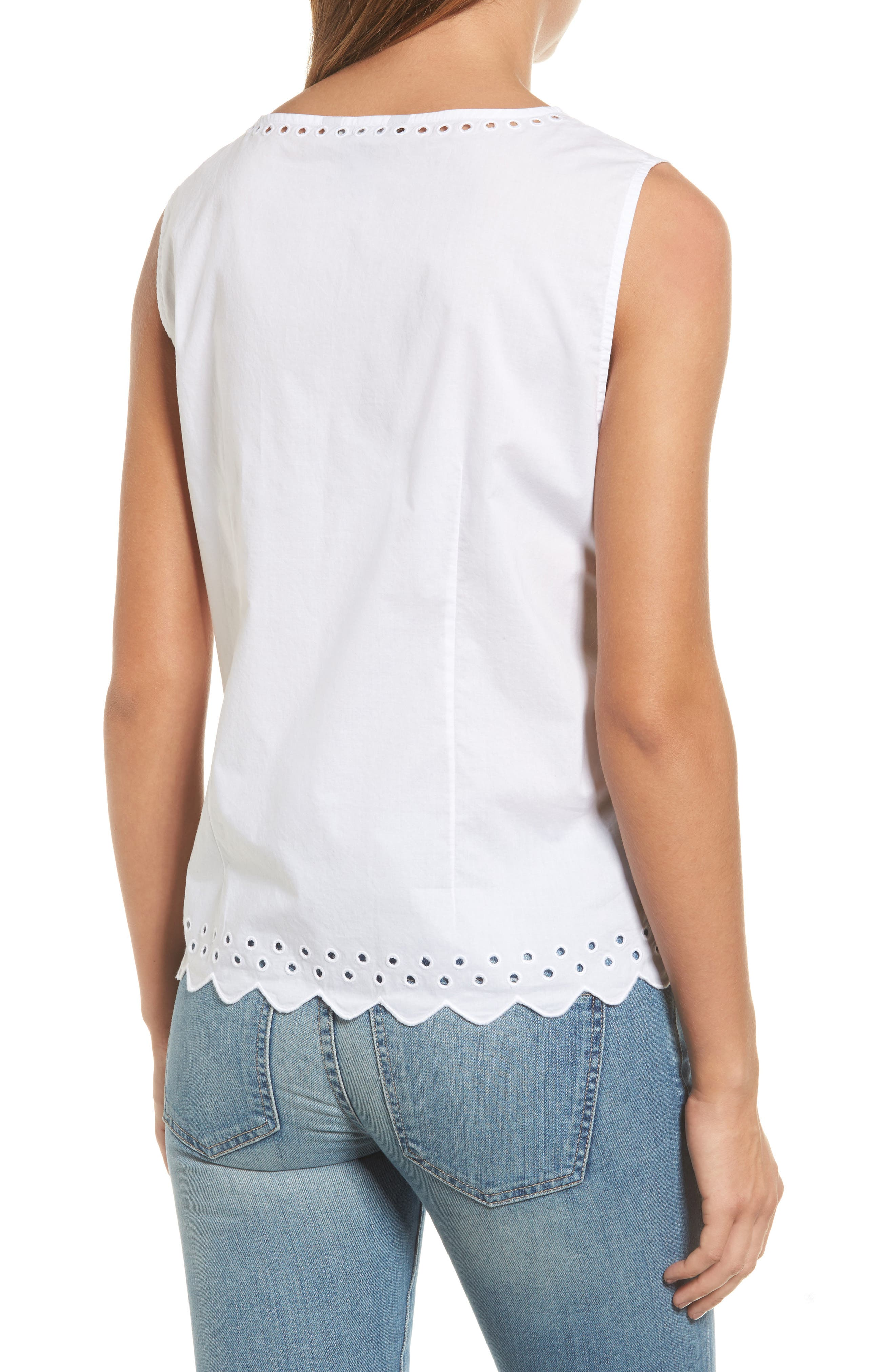 Cotton Eyelet Top,                             Alternate thumbnail 2, color,                             100
