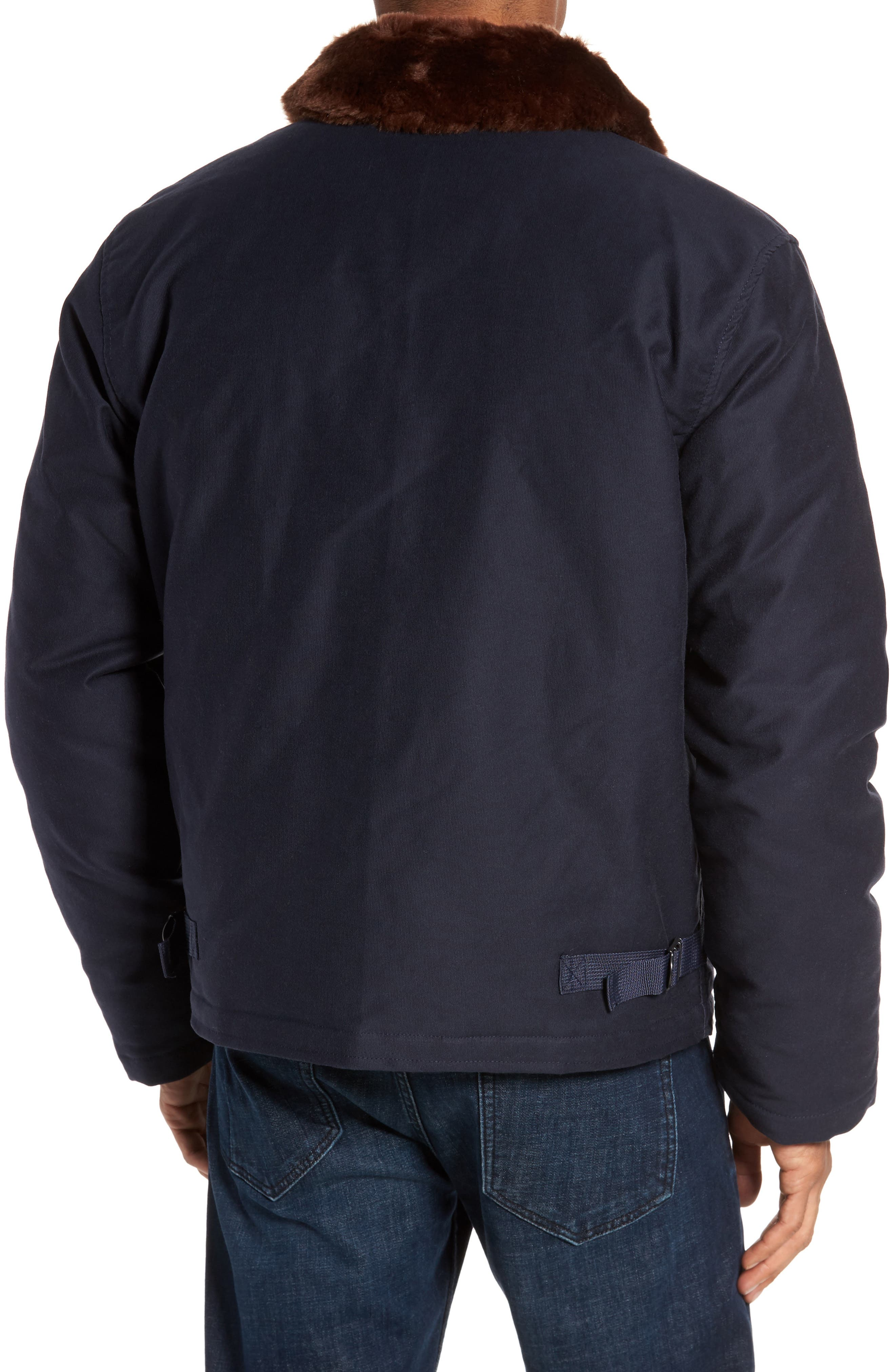 Faux Fur Collar Water-Repellent Corduroy Down Jacket,                             Alternate thumbnail 2, color,                             NAVY
