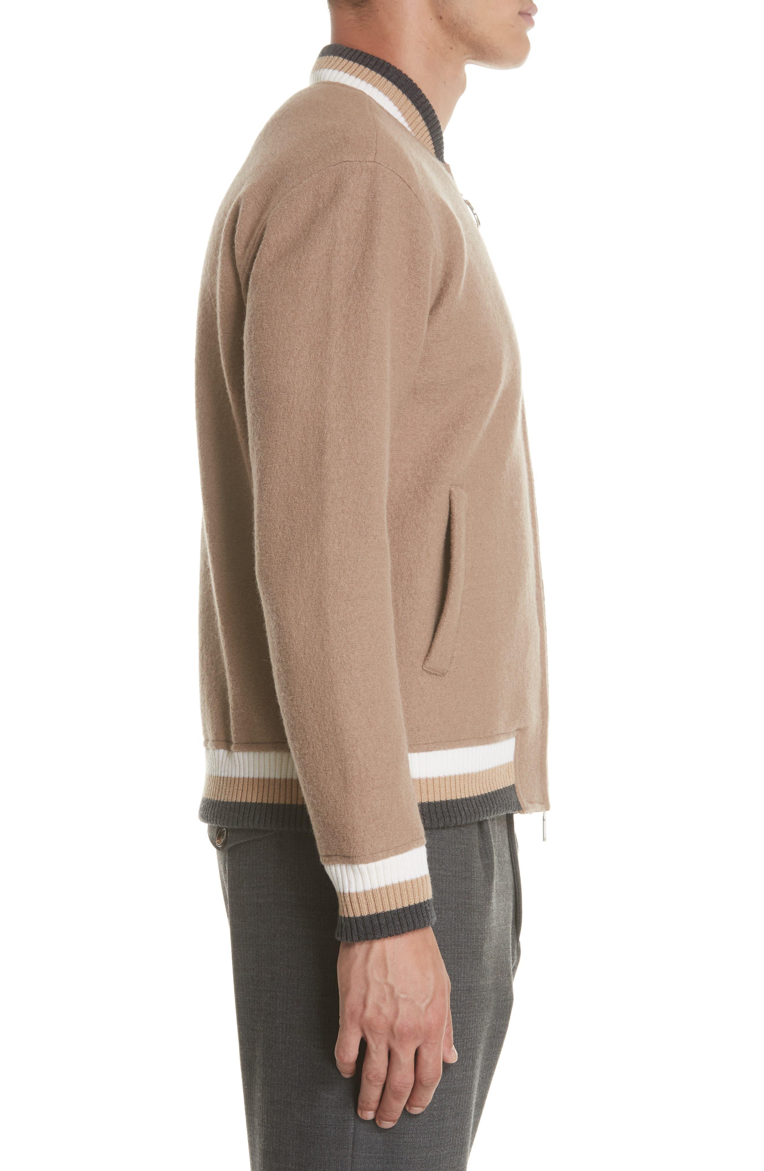 Wool Bomber Jacket,                             Alternate thumbnail 3, color,                             CAMEL