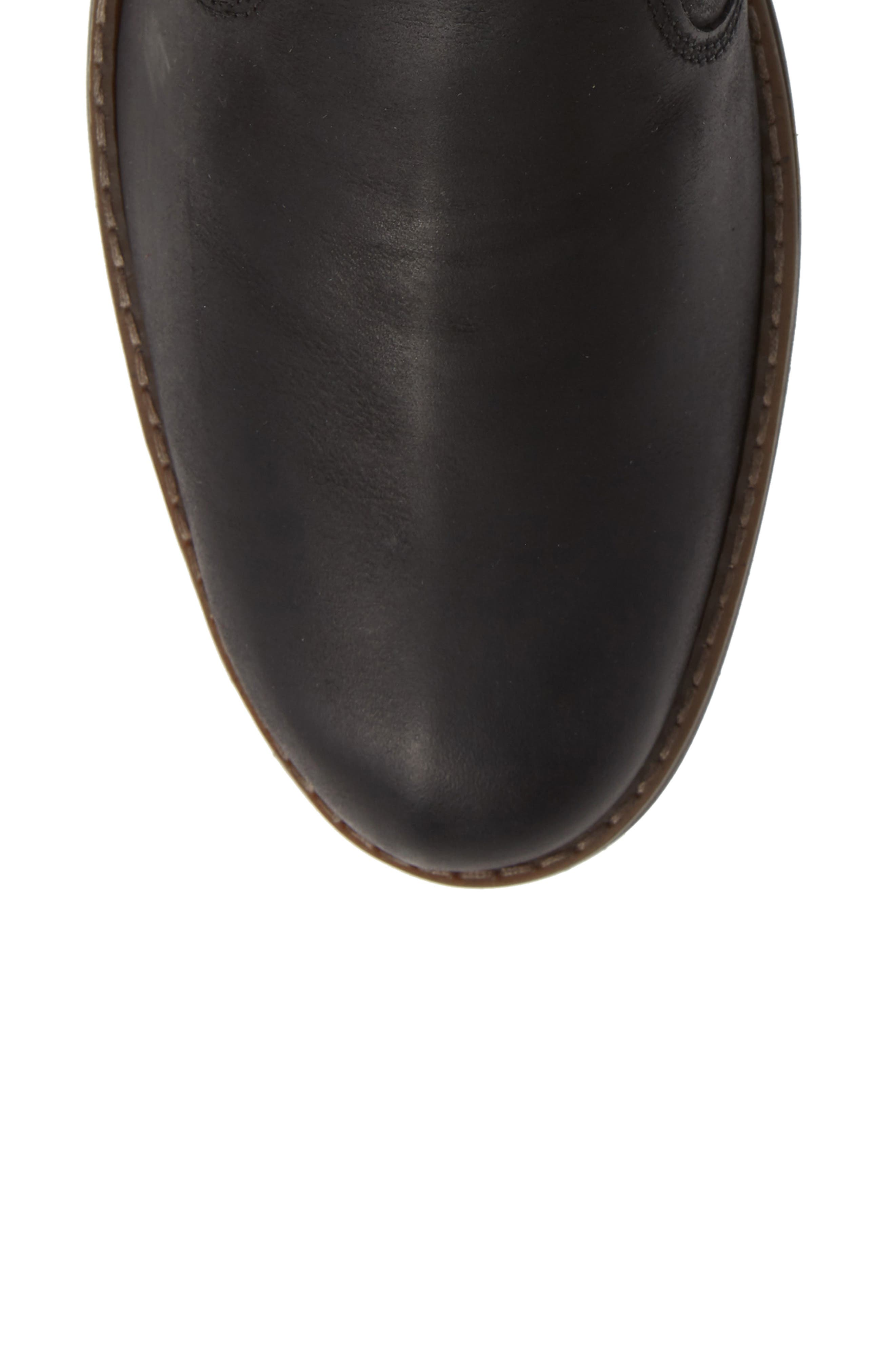 Maple Waterproof Chelsea Boot,                             Alternate thumbnail 5, color,                             BLACK LEATHER