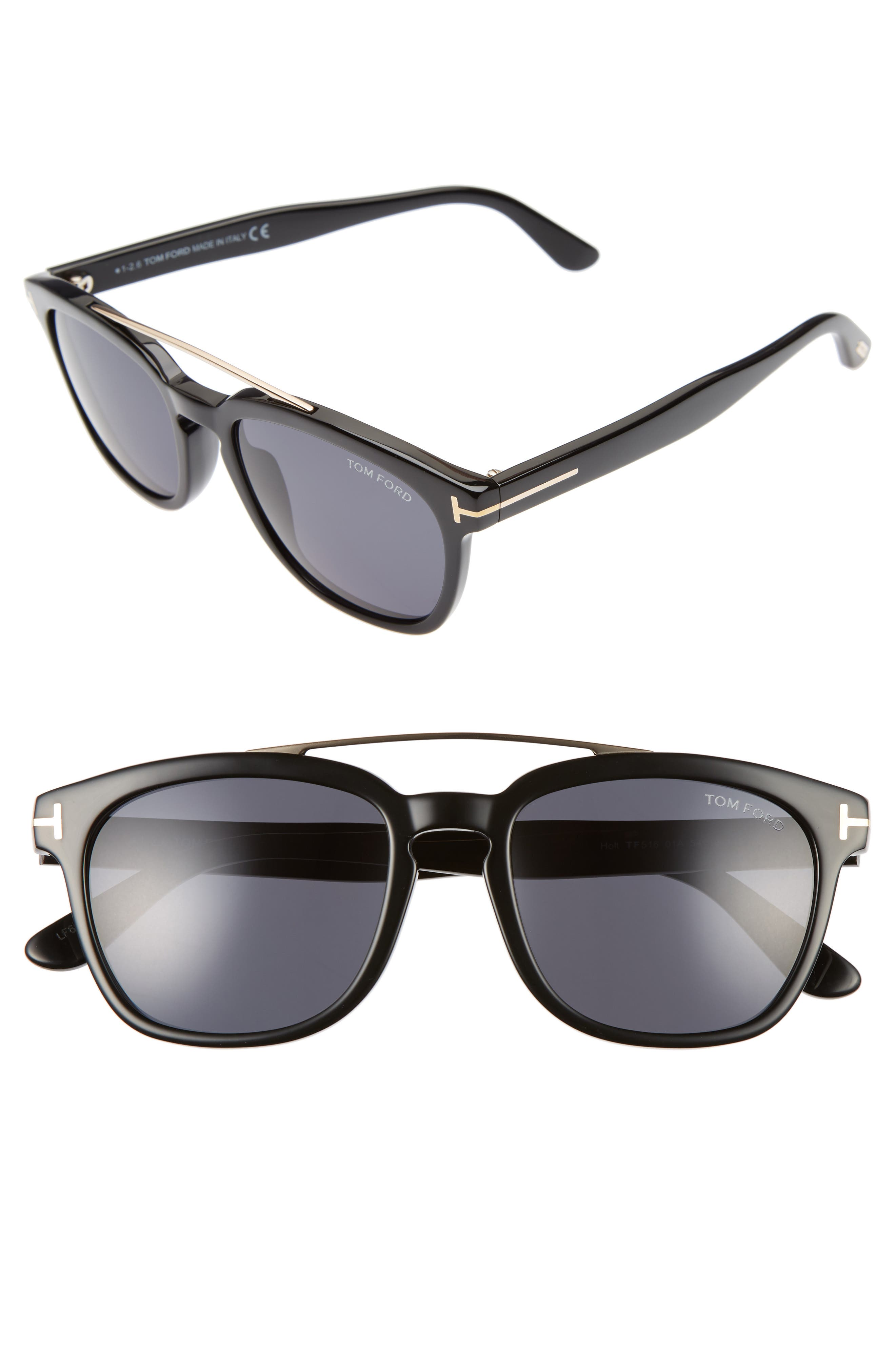54mm Double Brow Bar Sunglasses,                         Main,                         color, 001