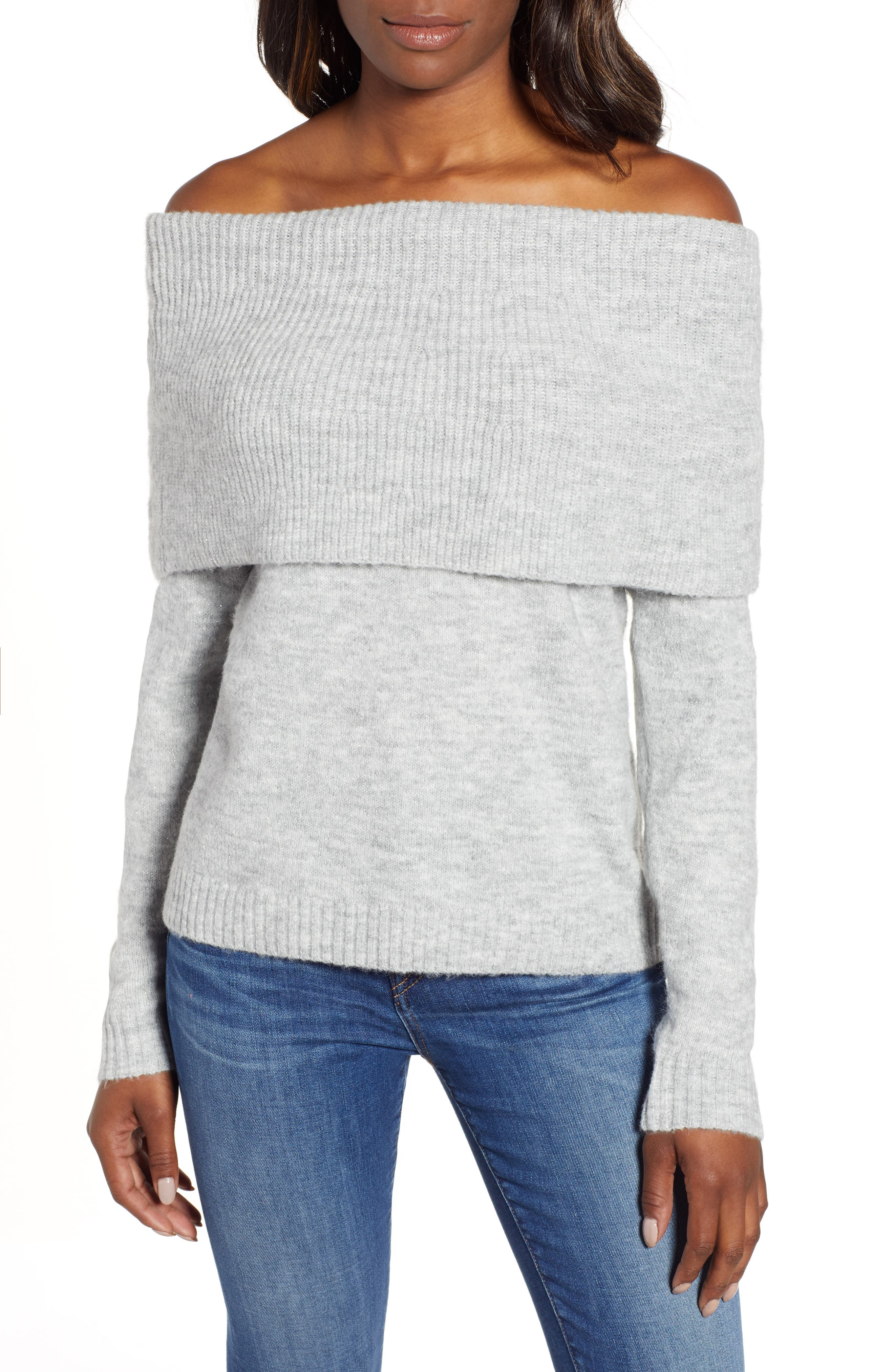 Convertible Cowl Neck Sweater,                         Main,                         color, GREY HEATHER