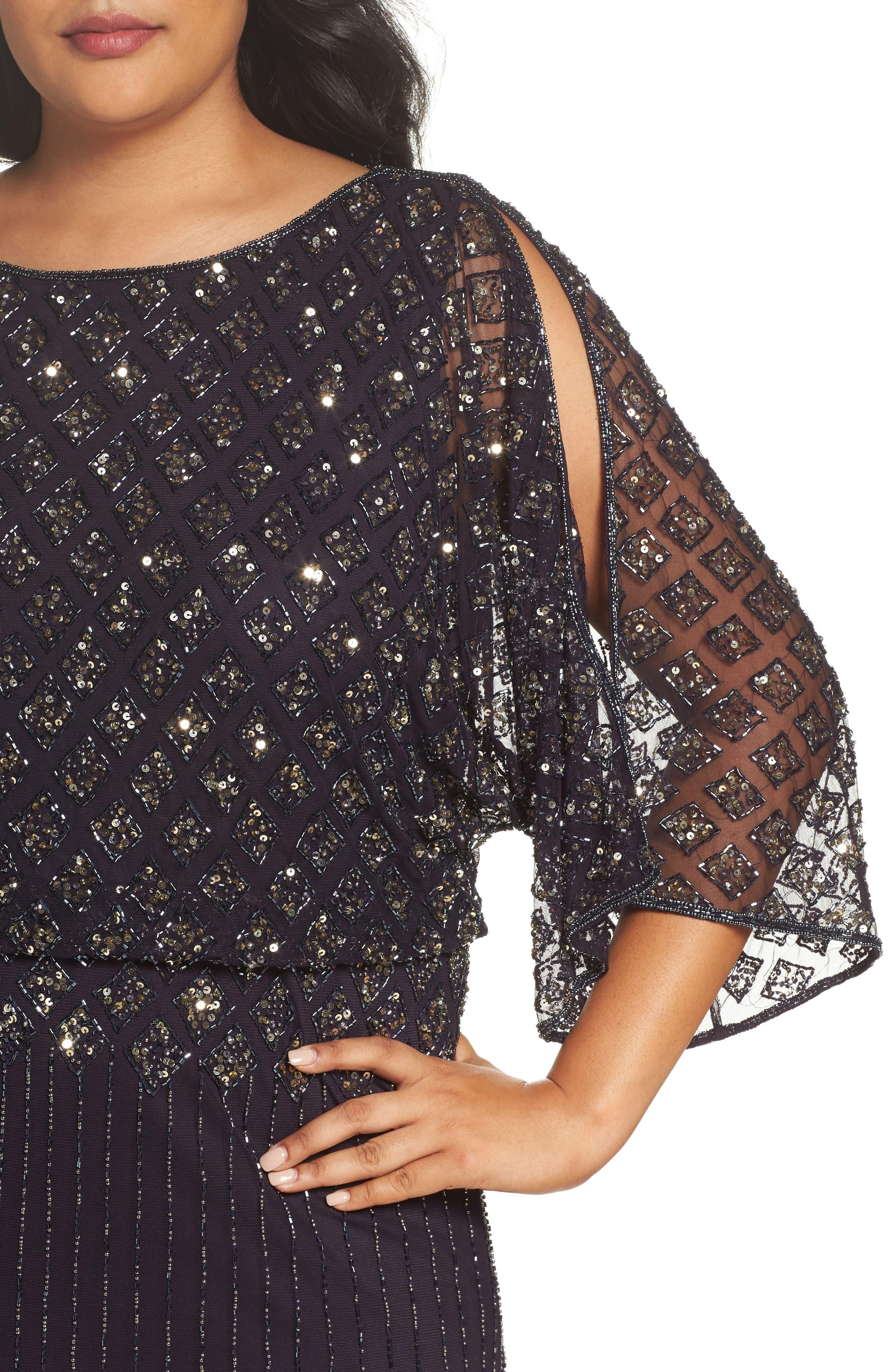 Diamond Motif Mesh Blouson Gown,                             Alternate thumbnail 8, color,
