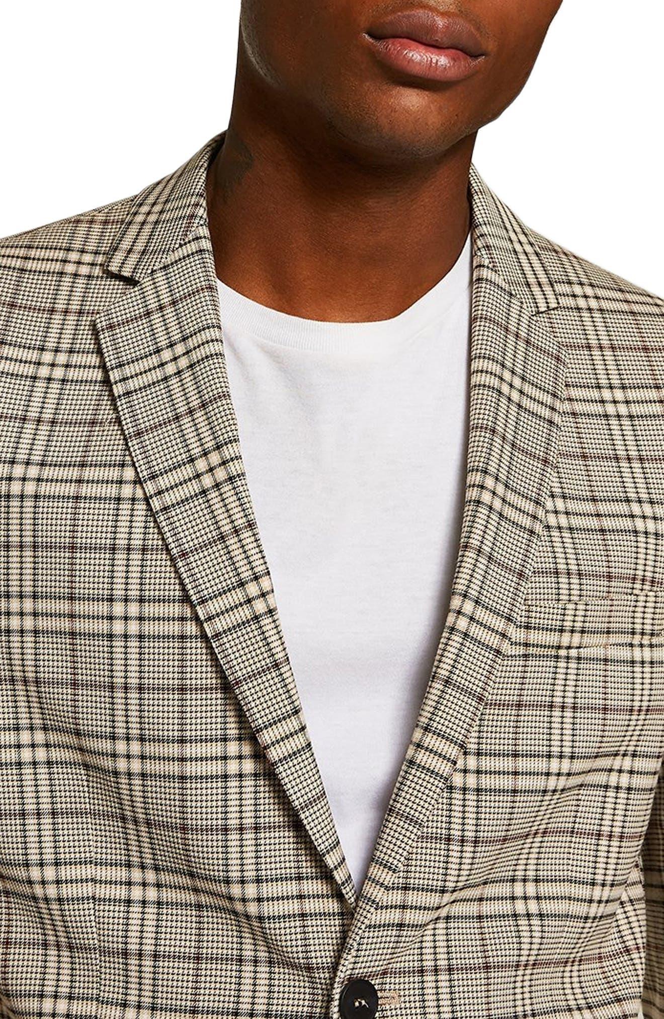 Slim Fit Check Blazer,                             Alternate thumbnail 4, color,                             STONE