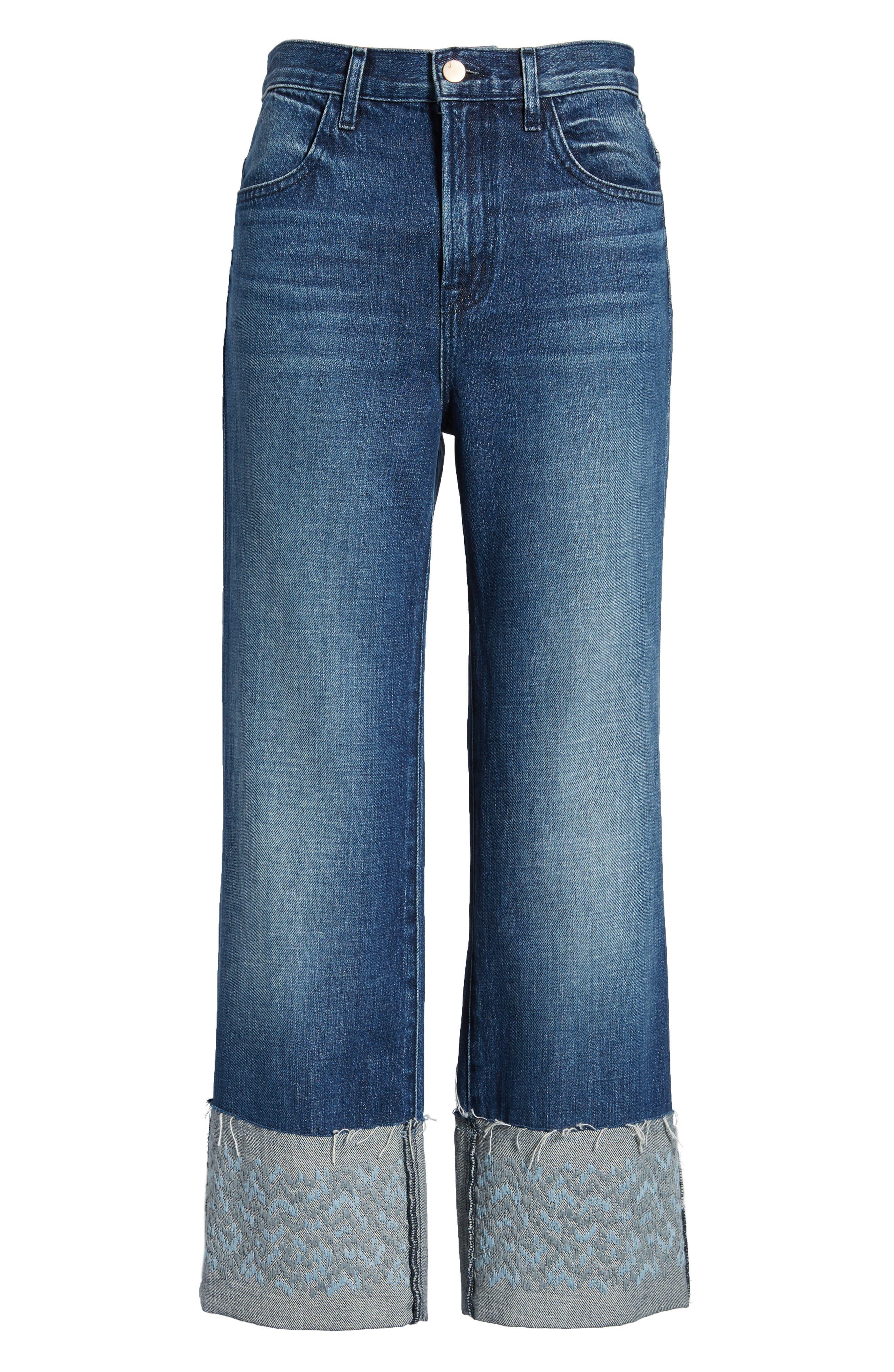 Joan High Waist Crop Wide Leg Jeans,                             Alternate thumbnail 7, color,                             409