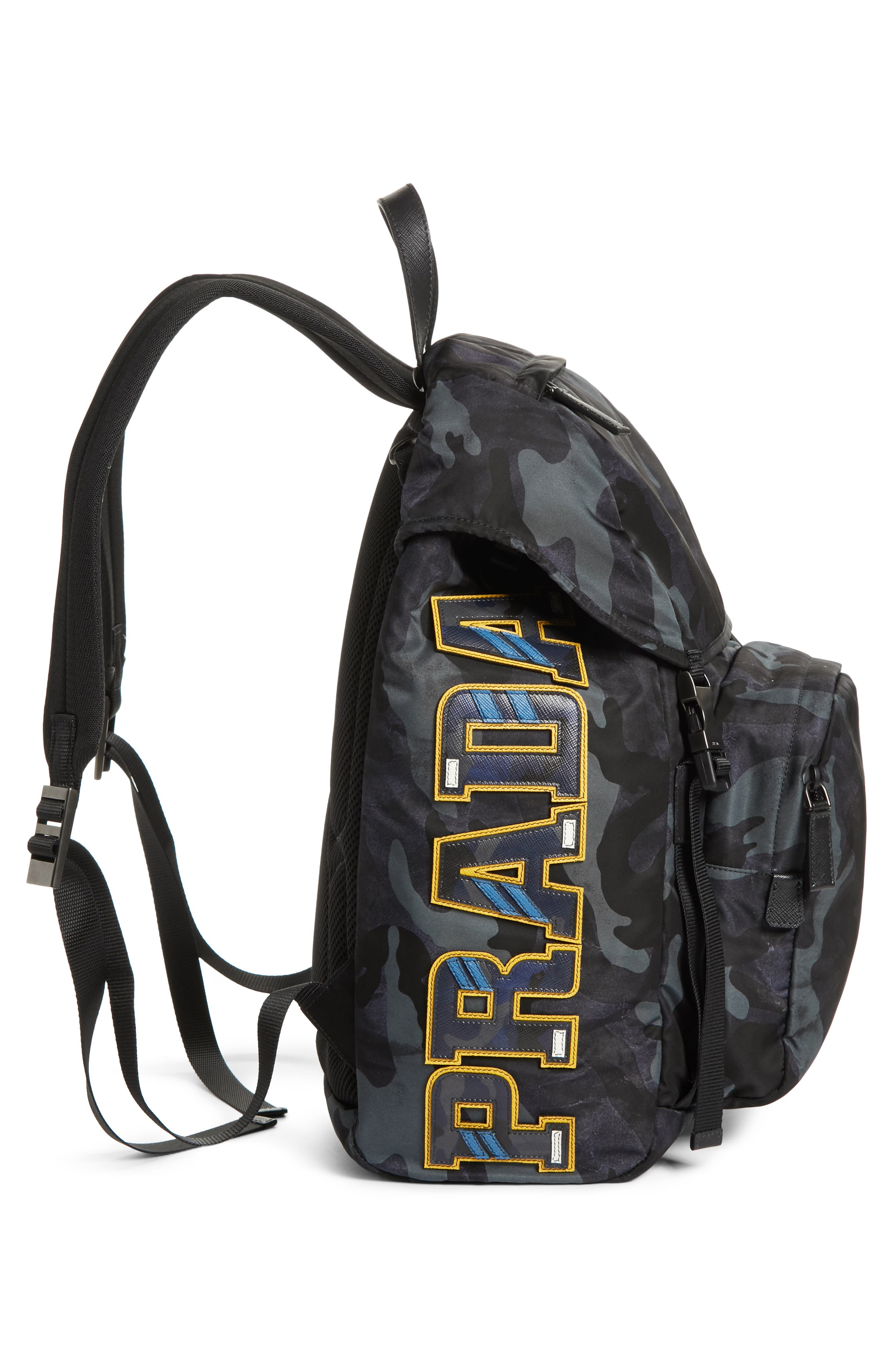 Tessuto Camo Nylon Backpack,                             Alternate thumbnail 5, color,                             BLACK