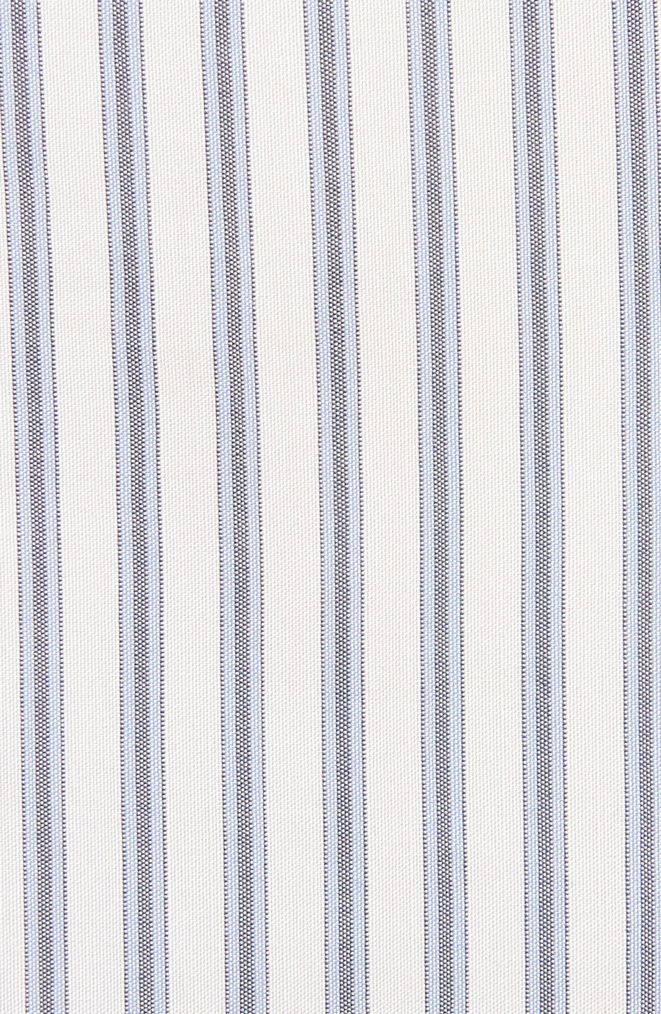 Stripe Tie Hem Silk Shirt,                             Alternate thumbnail 5, color,                             BLUE/ WHITE