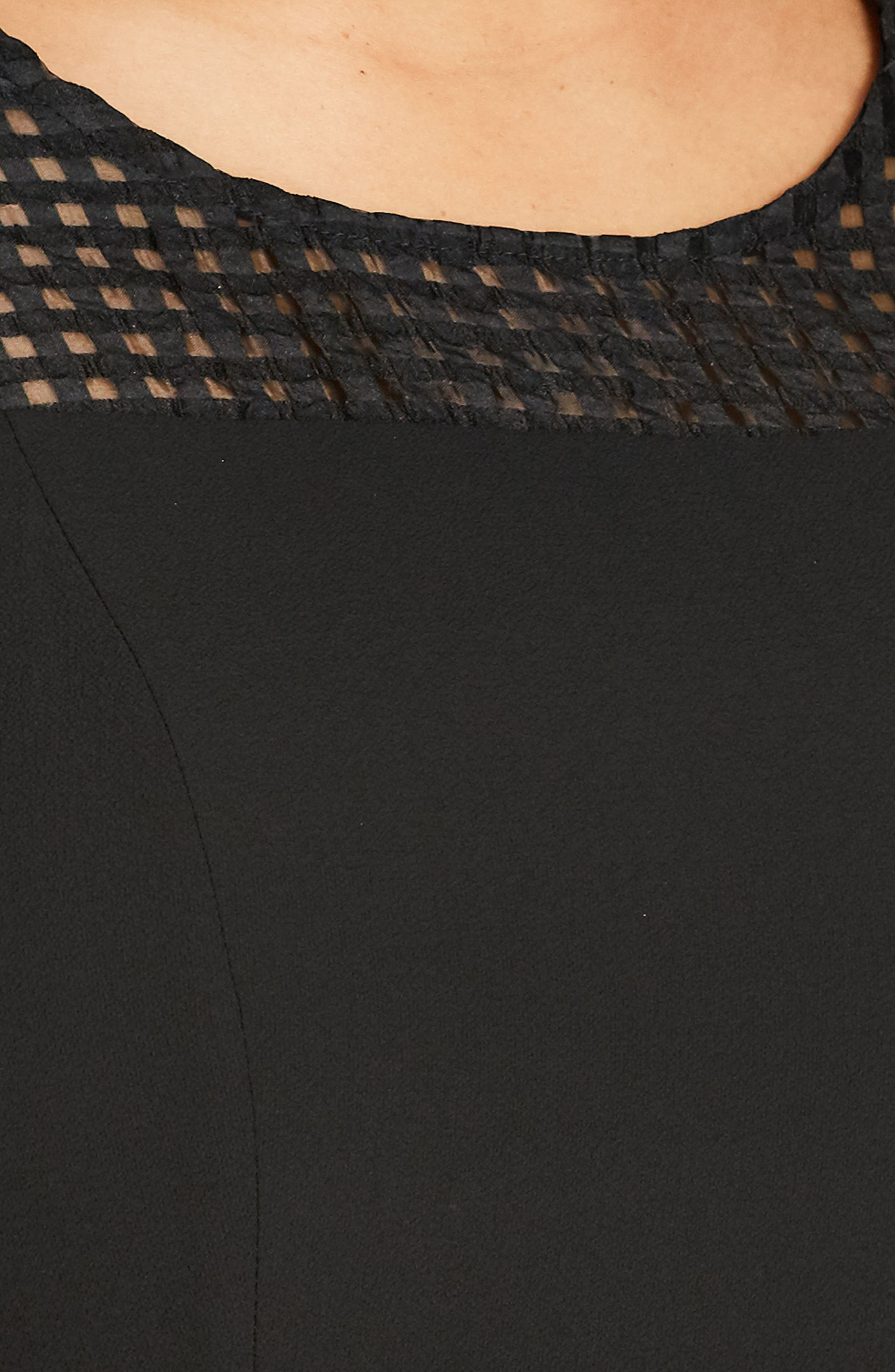 Sweet Texture Fit & Flare Dress,                             Main thumbnail 1, color,                             BLACK