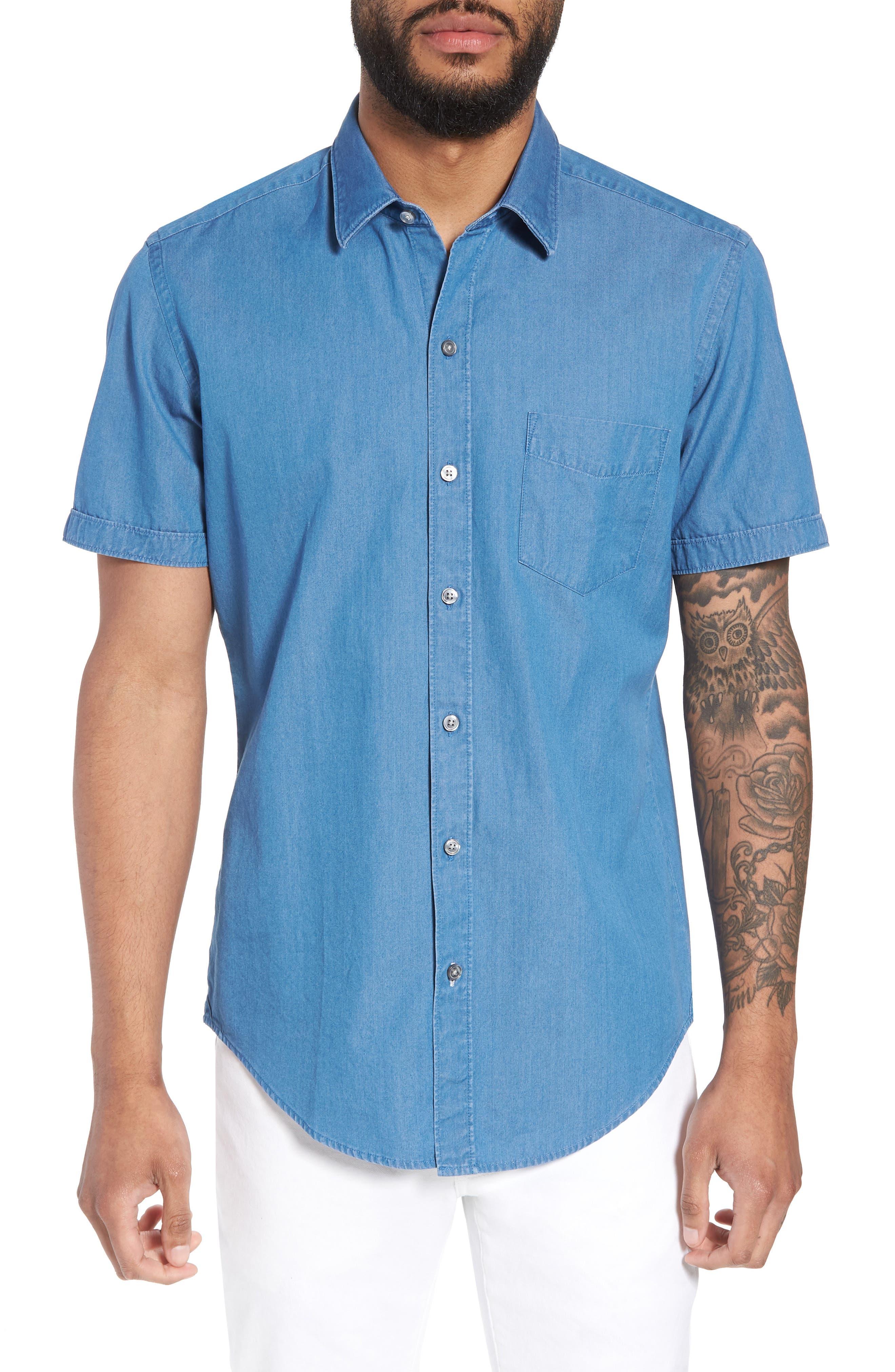 Robb Trim Fit Denim Short Sleeve Sport Shirt,                             Main thumbnail 1, color,                             BLUE