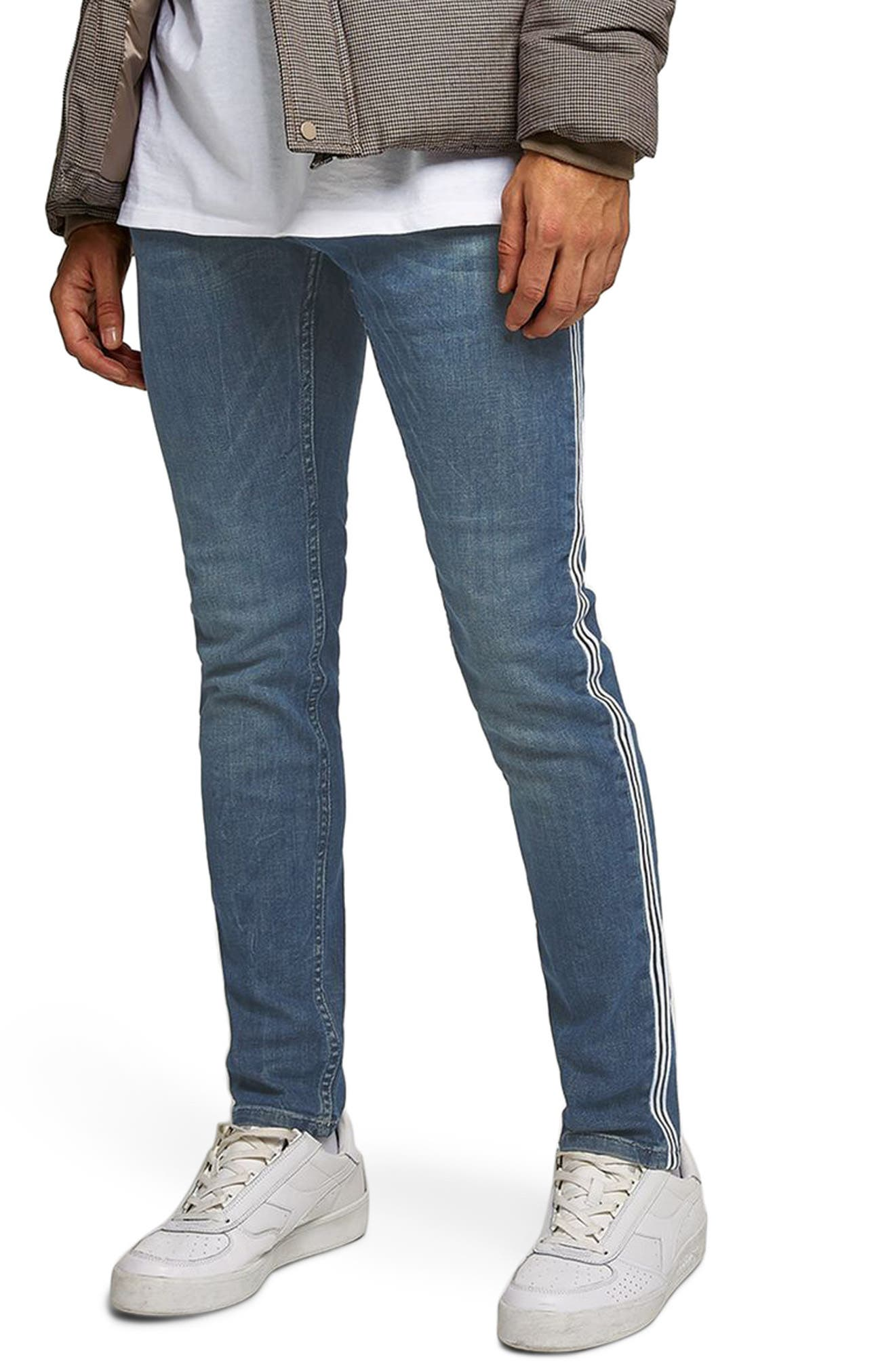 TOPMAN Tape Stretch Skinny Fit Jeans, Main, color, 400