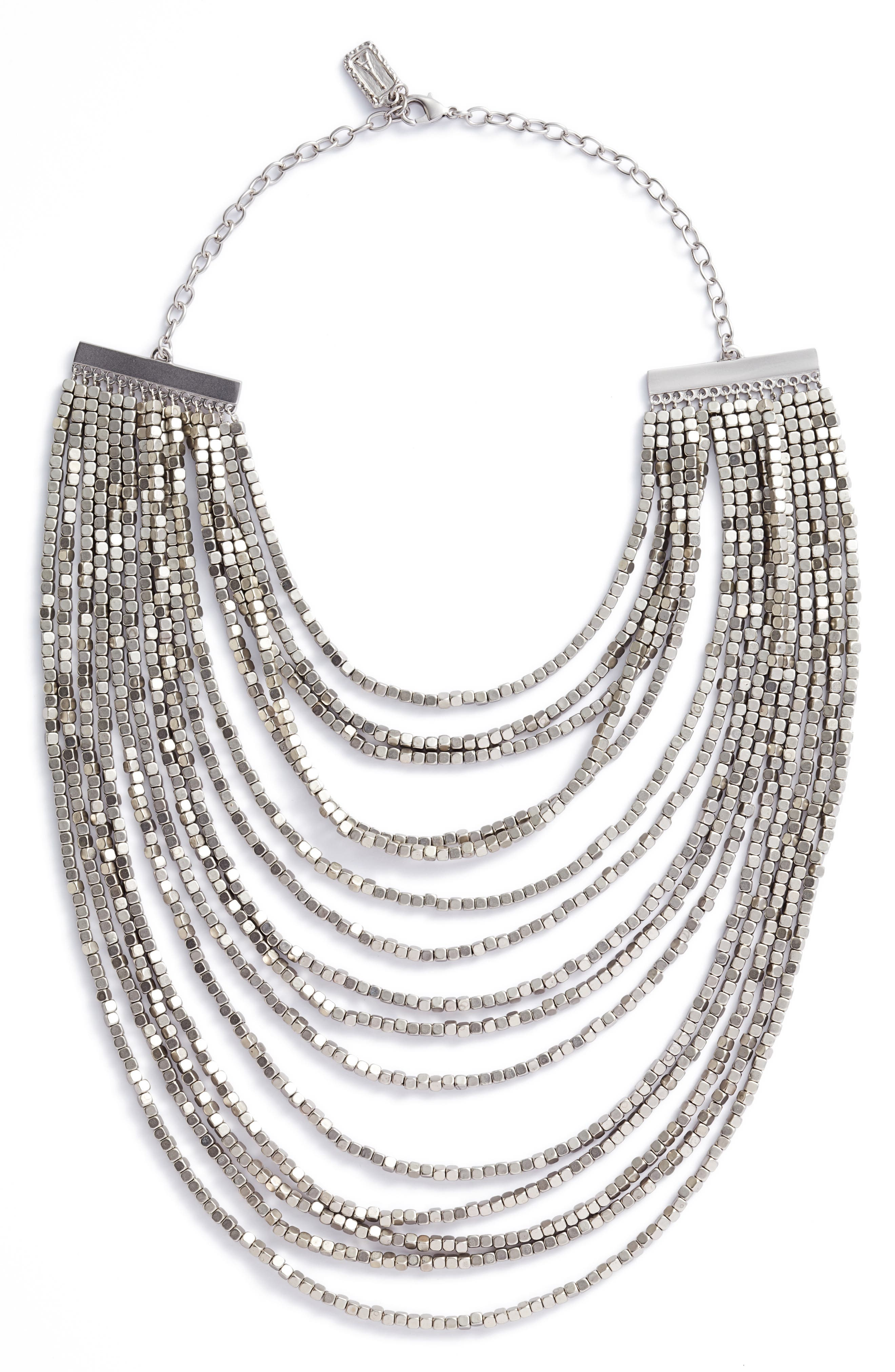 Joan Beaded Multistrand Necklace,                             Main thumbnail 1, color,                             SILVER
