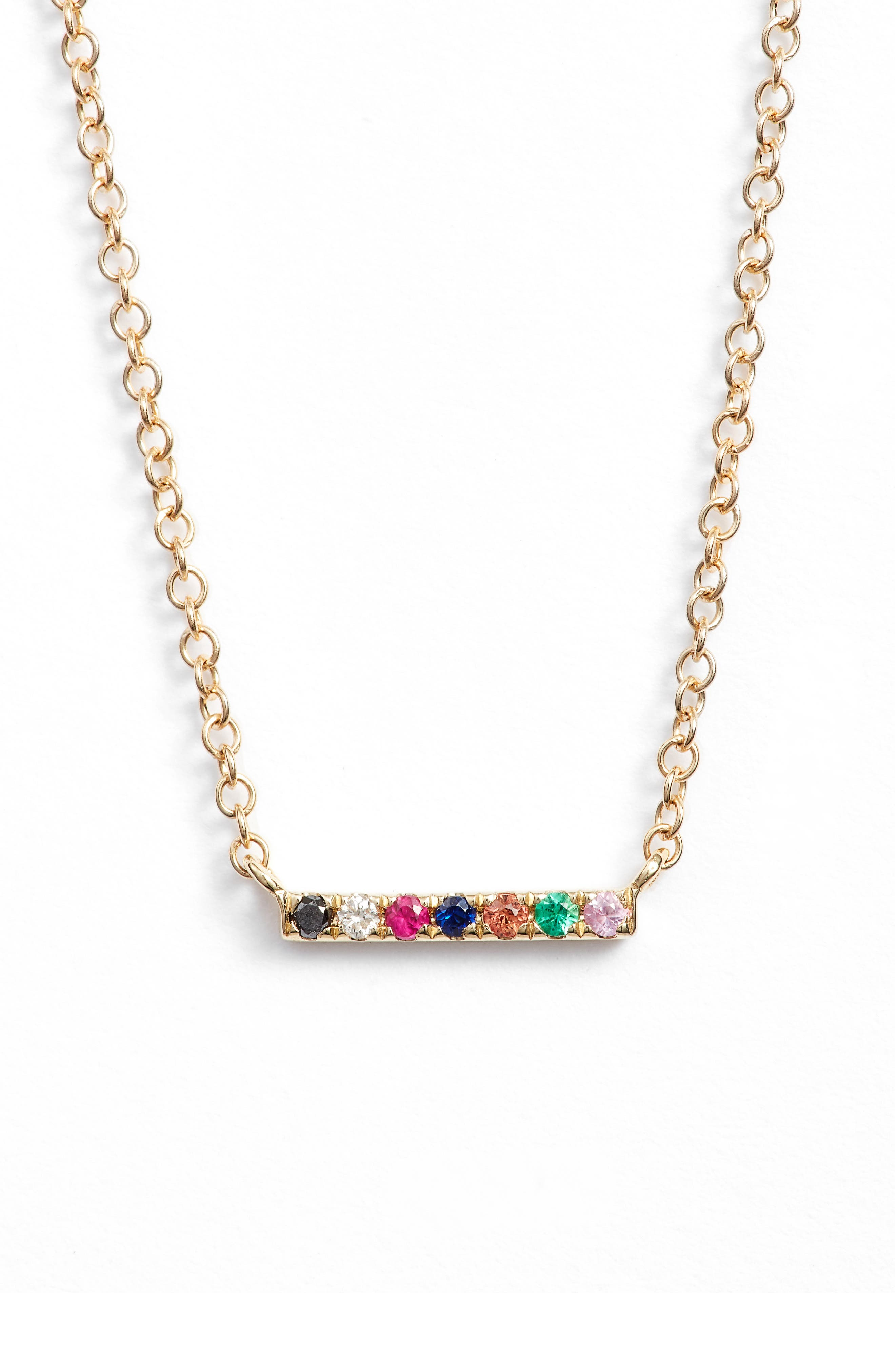 EF COLLECTION,                             Mini Bar Rainbow Necklace,                             Main thumbnail 1, color,                             YELLOW GOLD