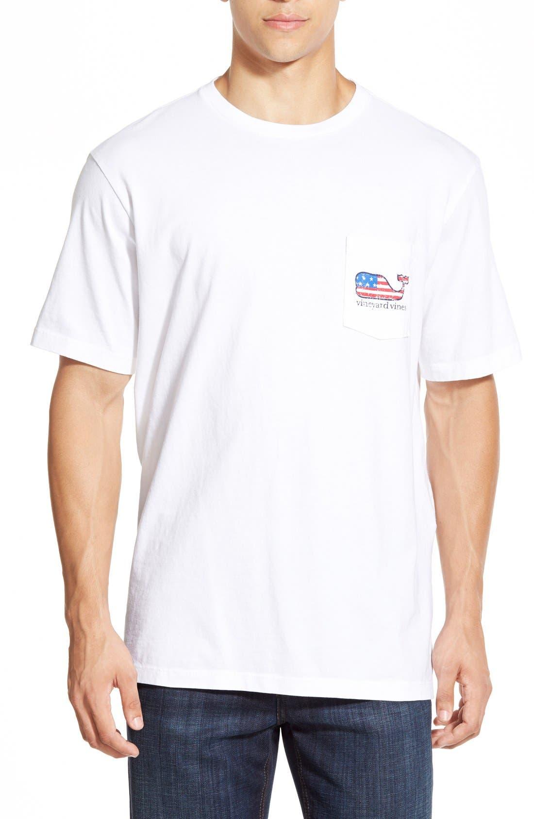 American Flag Whale Graphic T-Shirt,                             Alternate thumbnail 4, color,                             WHITE CAP