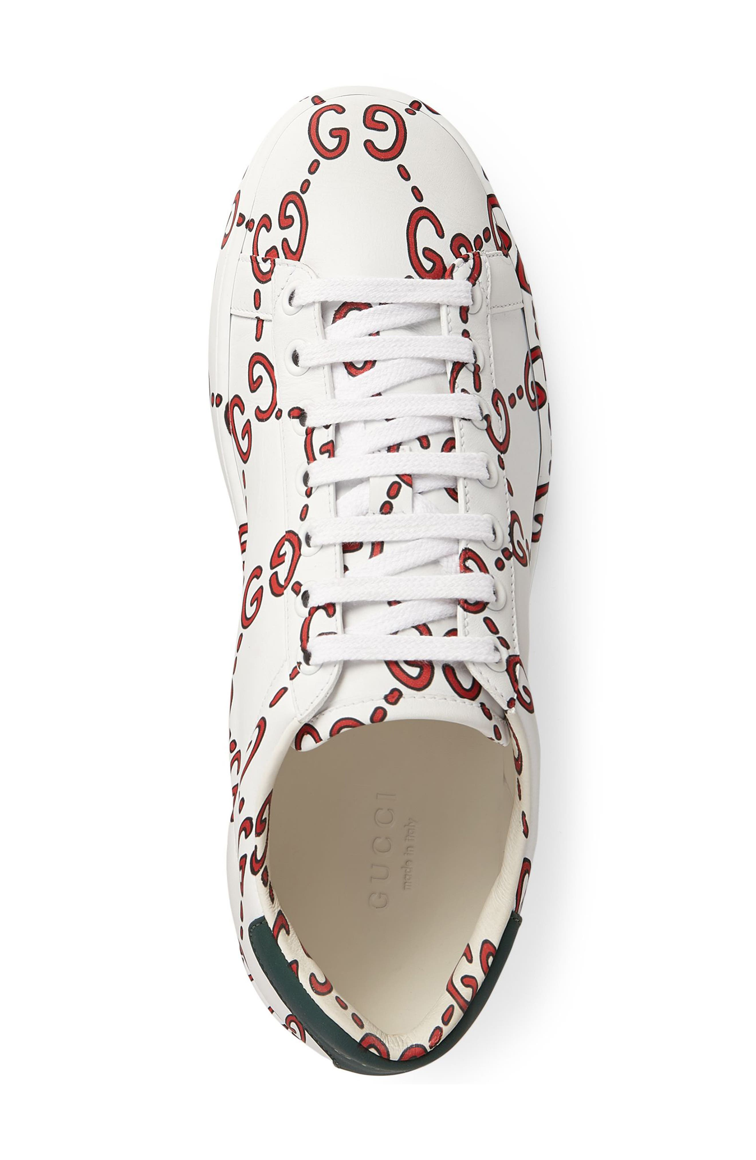 New Ace GG Supreme Logo Sneaker,                             Alternate thumbnail 3, color,                             WHITE/ HIBISCUS RED