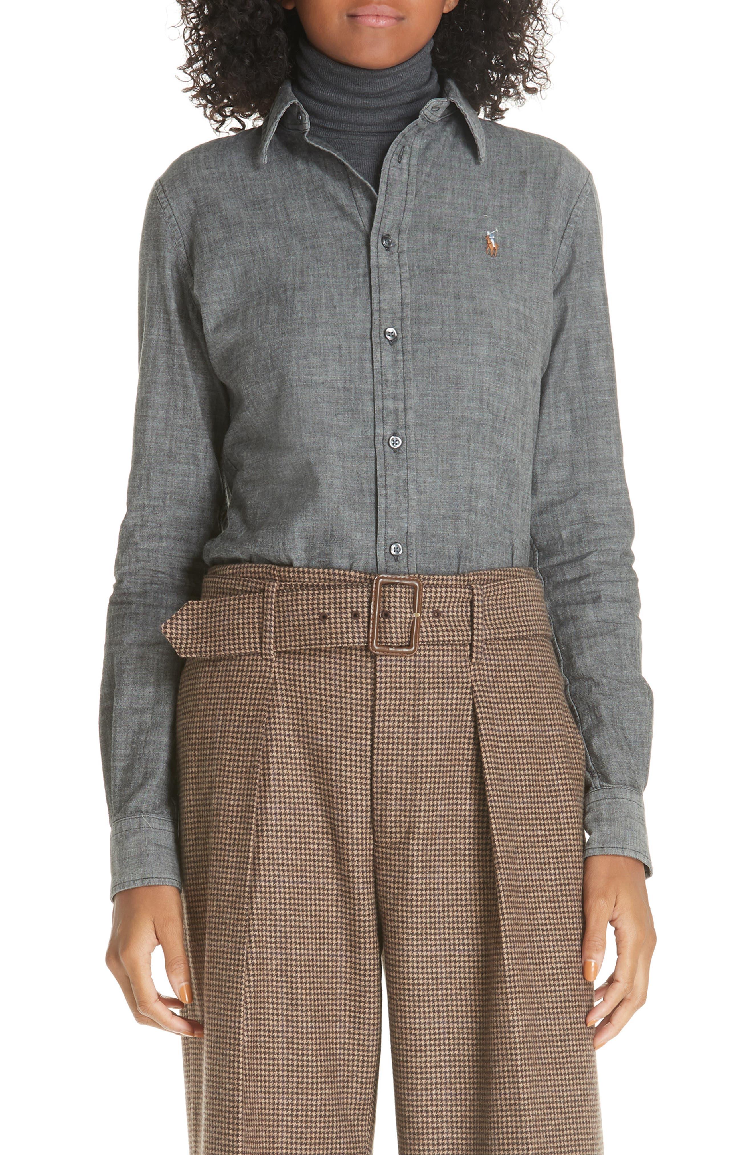 Slim Chambray Shirt,                             Main thumbnail 1, color,                             BLACK