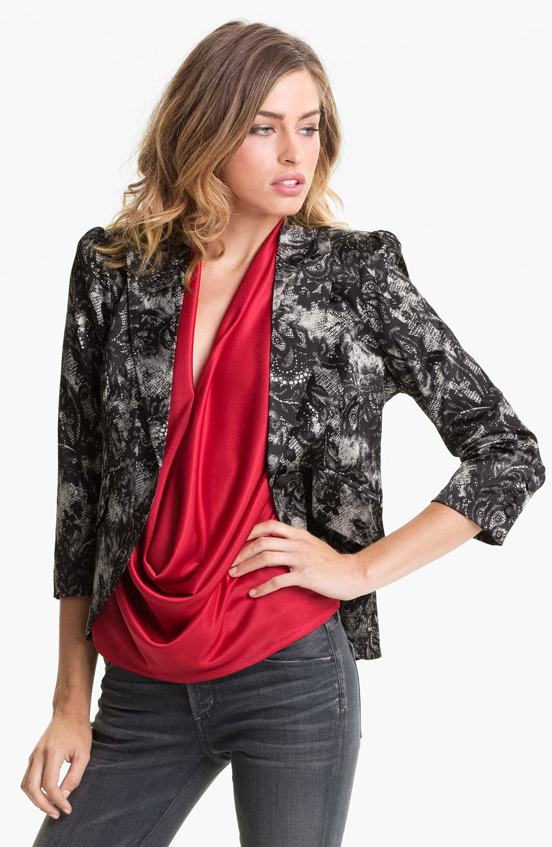 Lace Print Blazer,                             Main thumbnail 1, color,                             001