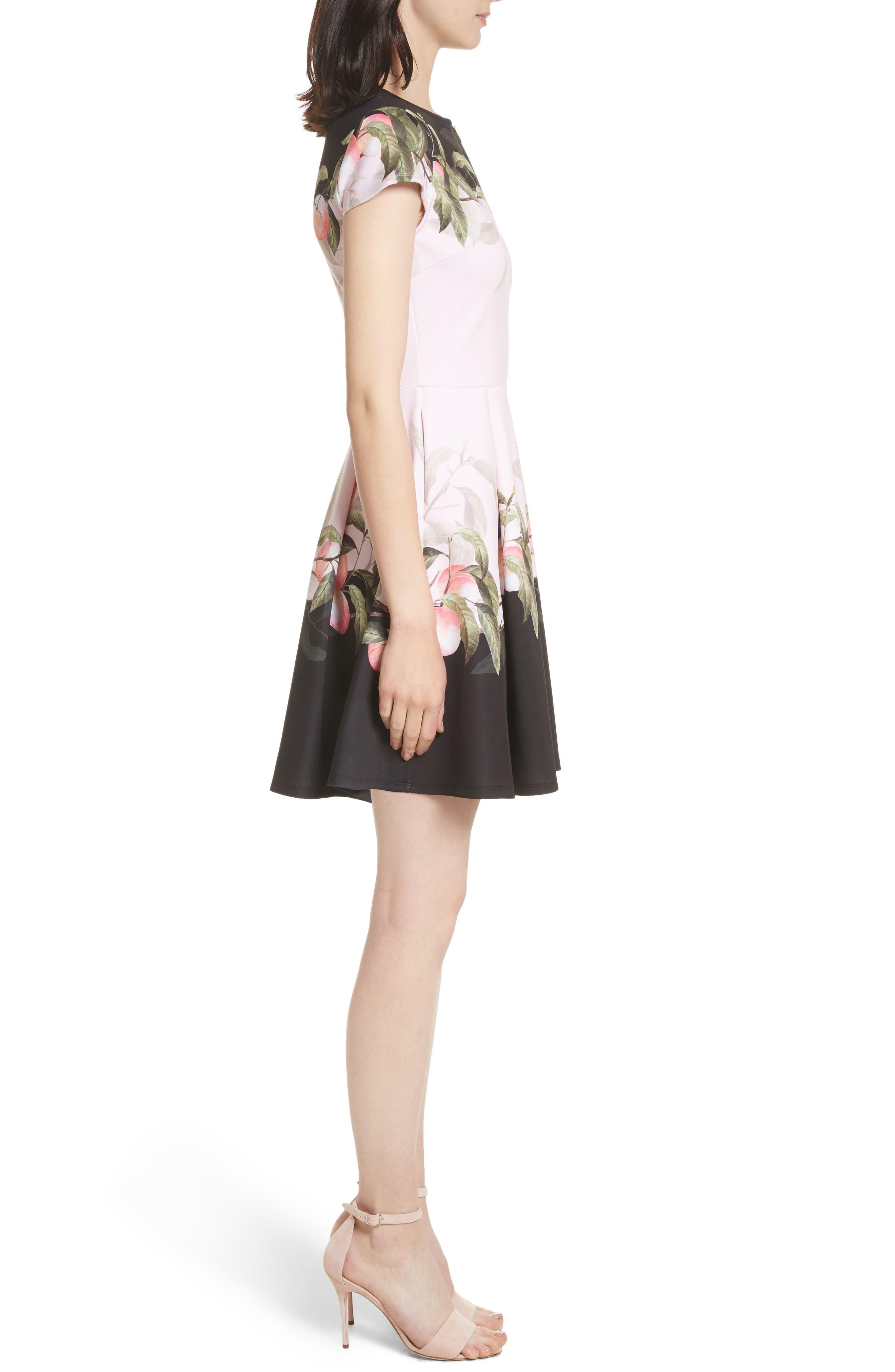 Peach Blossom Jersey Skater Dress,                             Alternate thumbnail 3, color,                             683