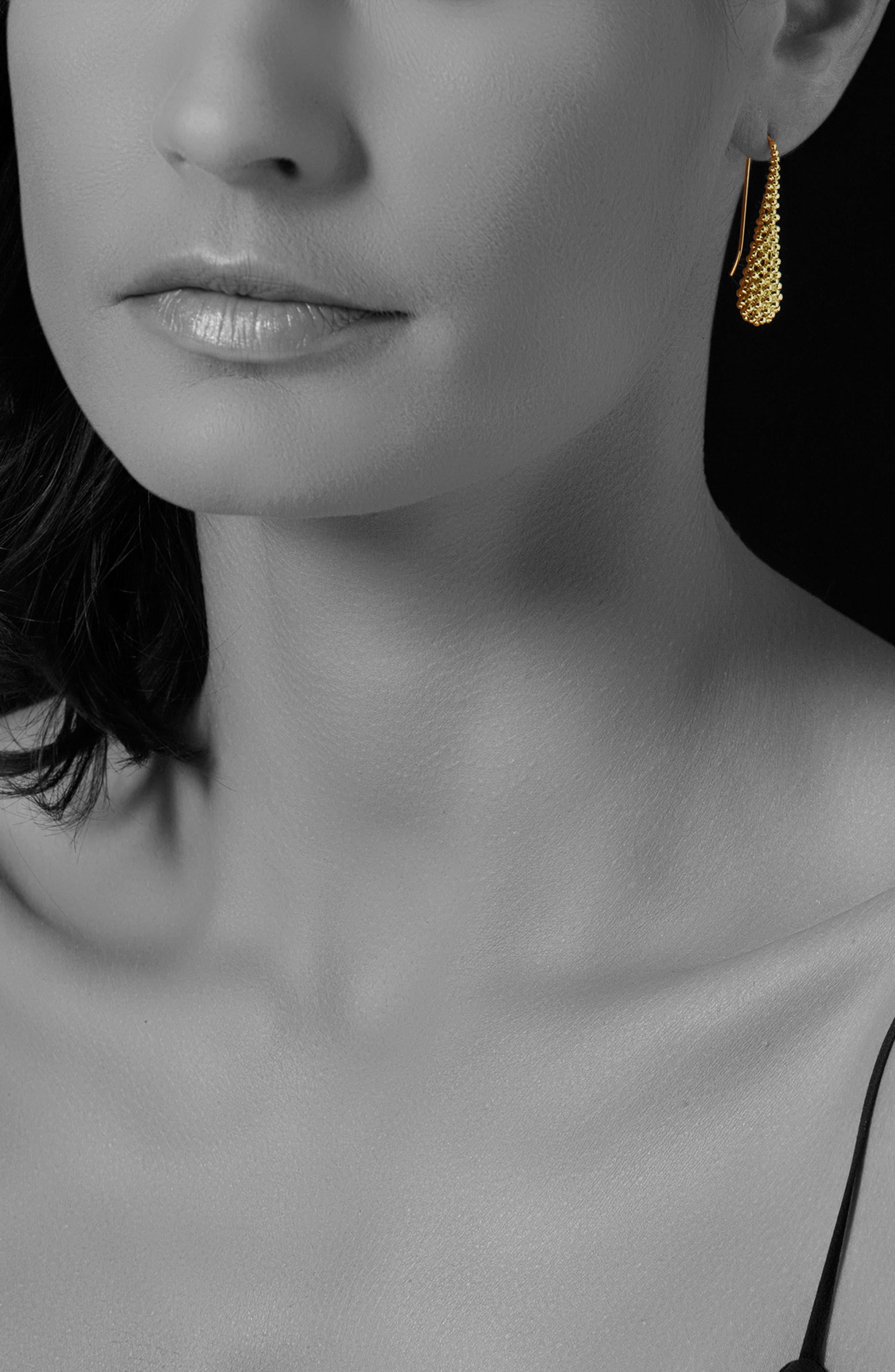 Caviar Gold Teardrop Earrings,                             Alternate thumbnail 2, color,                             GOLD