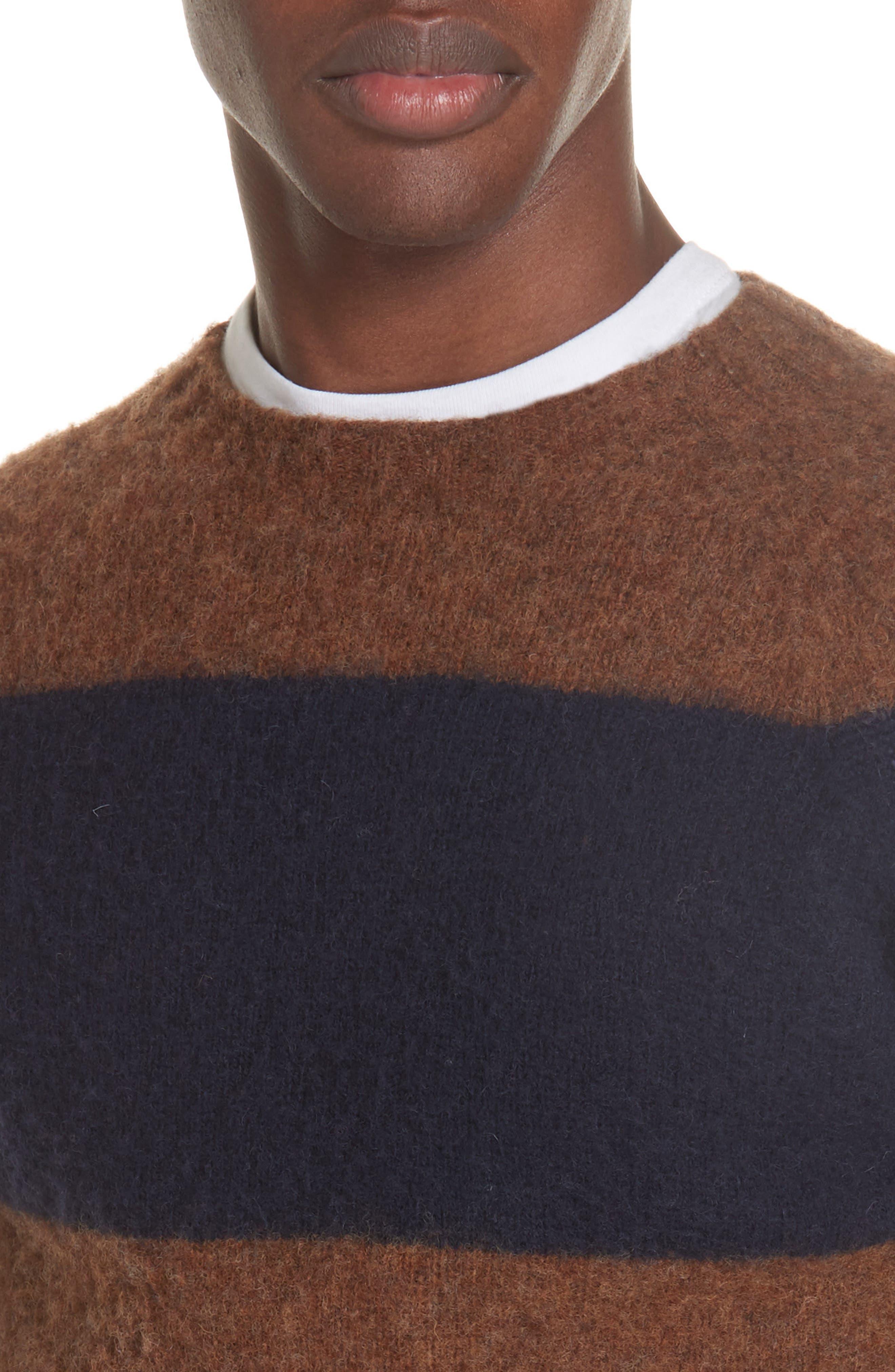 Officine Générale Stripe Wool Crew Sweater,                             Alternate thumbnail 4, color,                             411