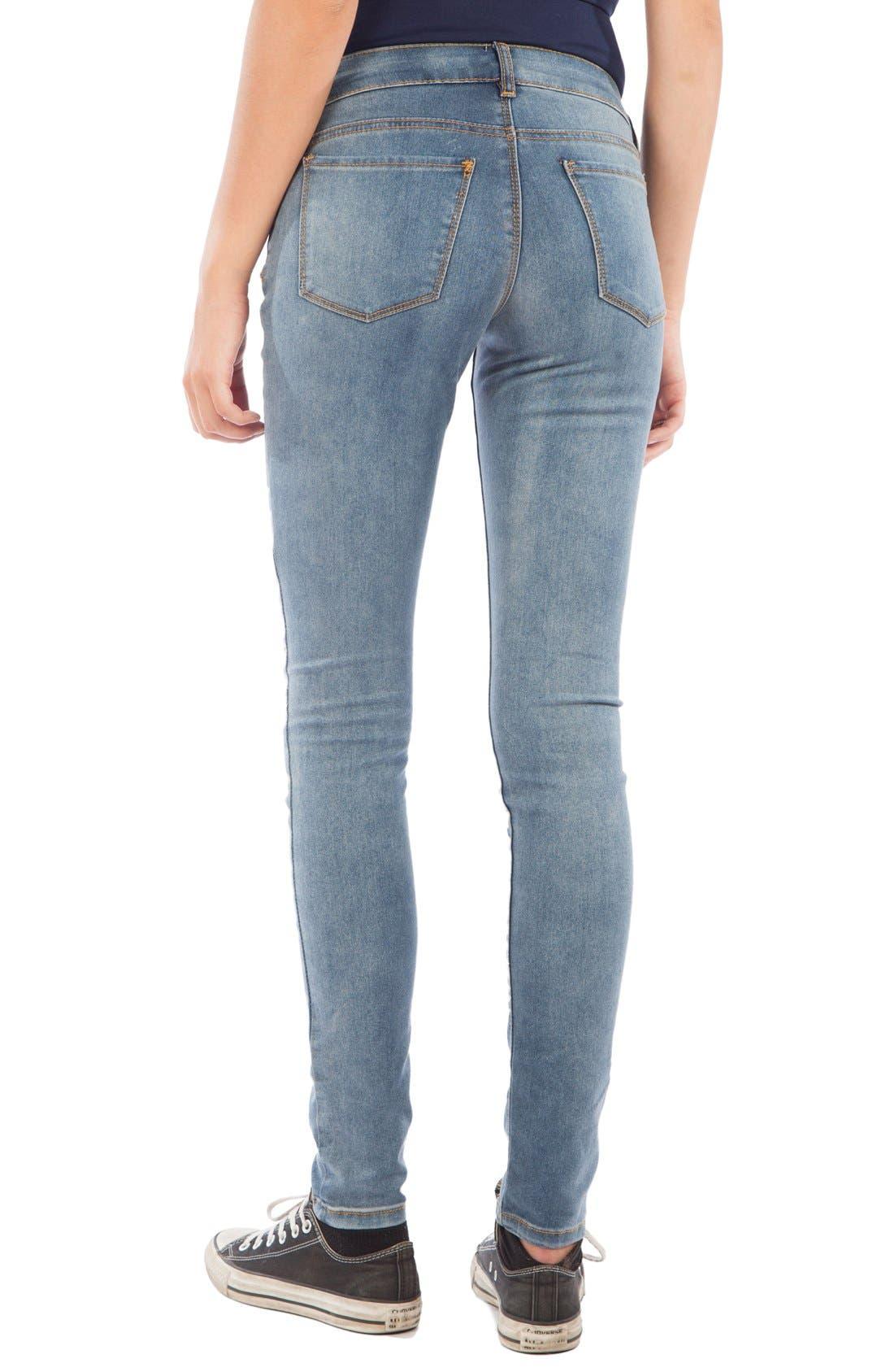 Skinny Maternity Jeans,                             Alternate thumbnail 3, color,                             MEDIUM BLUE WASH