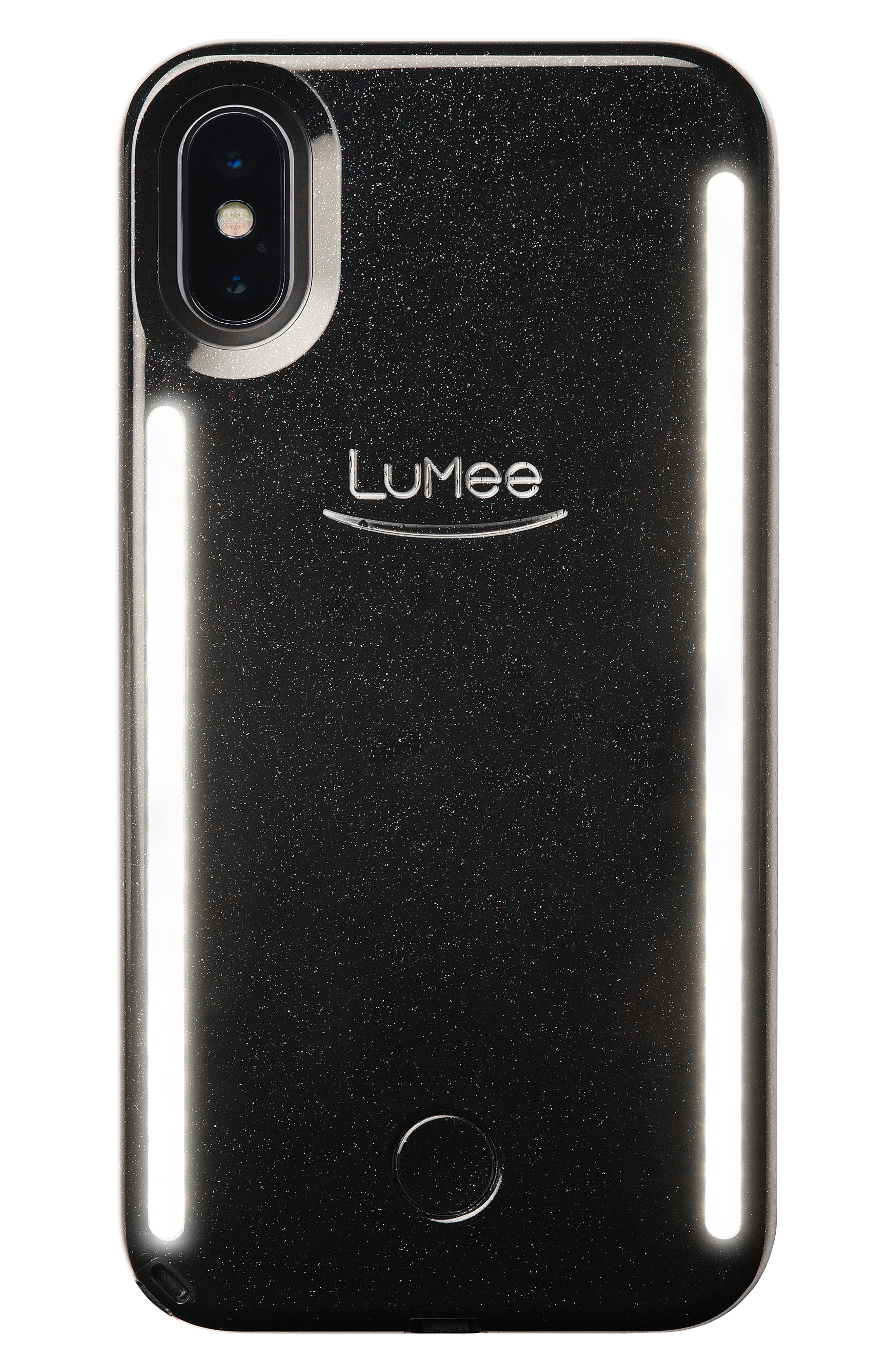 LUMEE Duo LED Lighted iPhone X/Xs, XR & X Max Case, Main, color, BLACK GLITTER