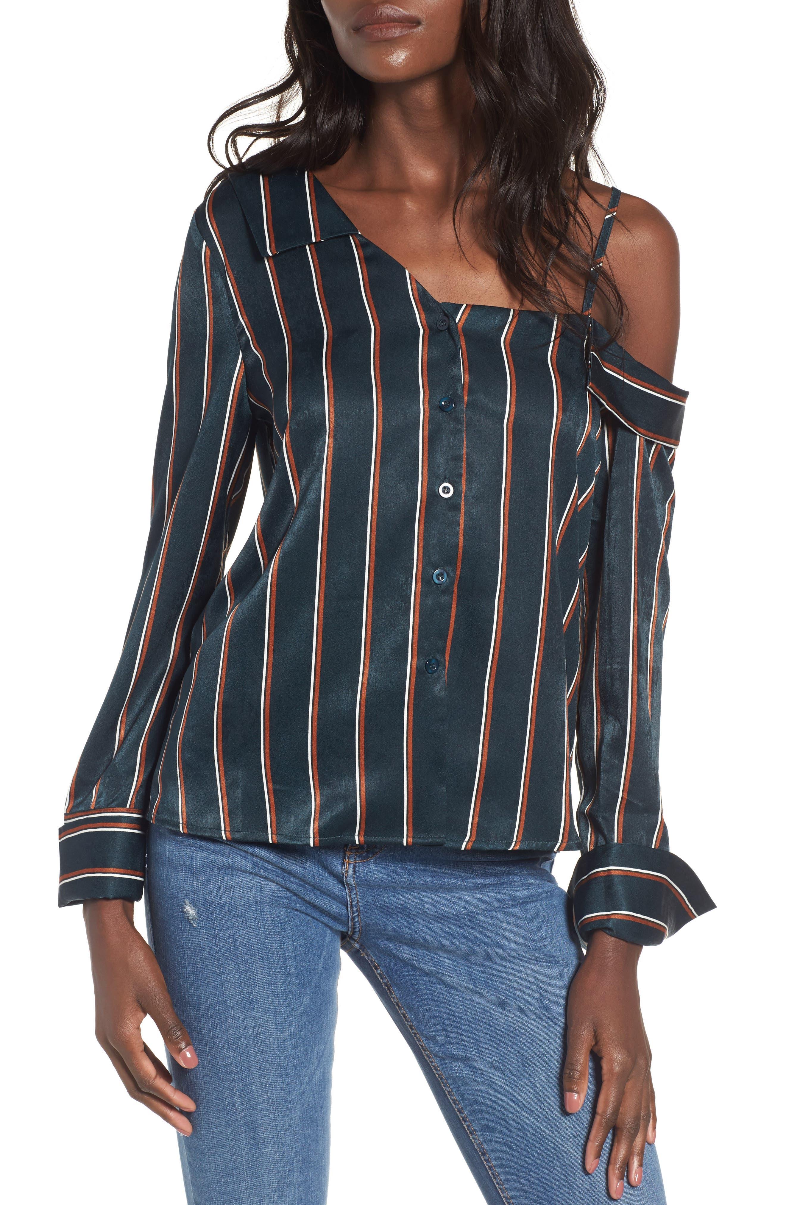 One-Shoulder Stripe Shirt,                             Main thumbnail 1, color,                             360