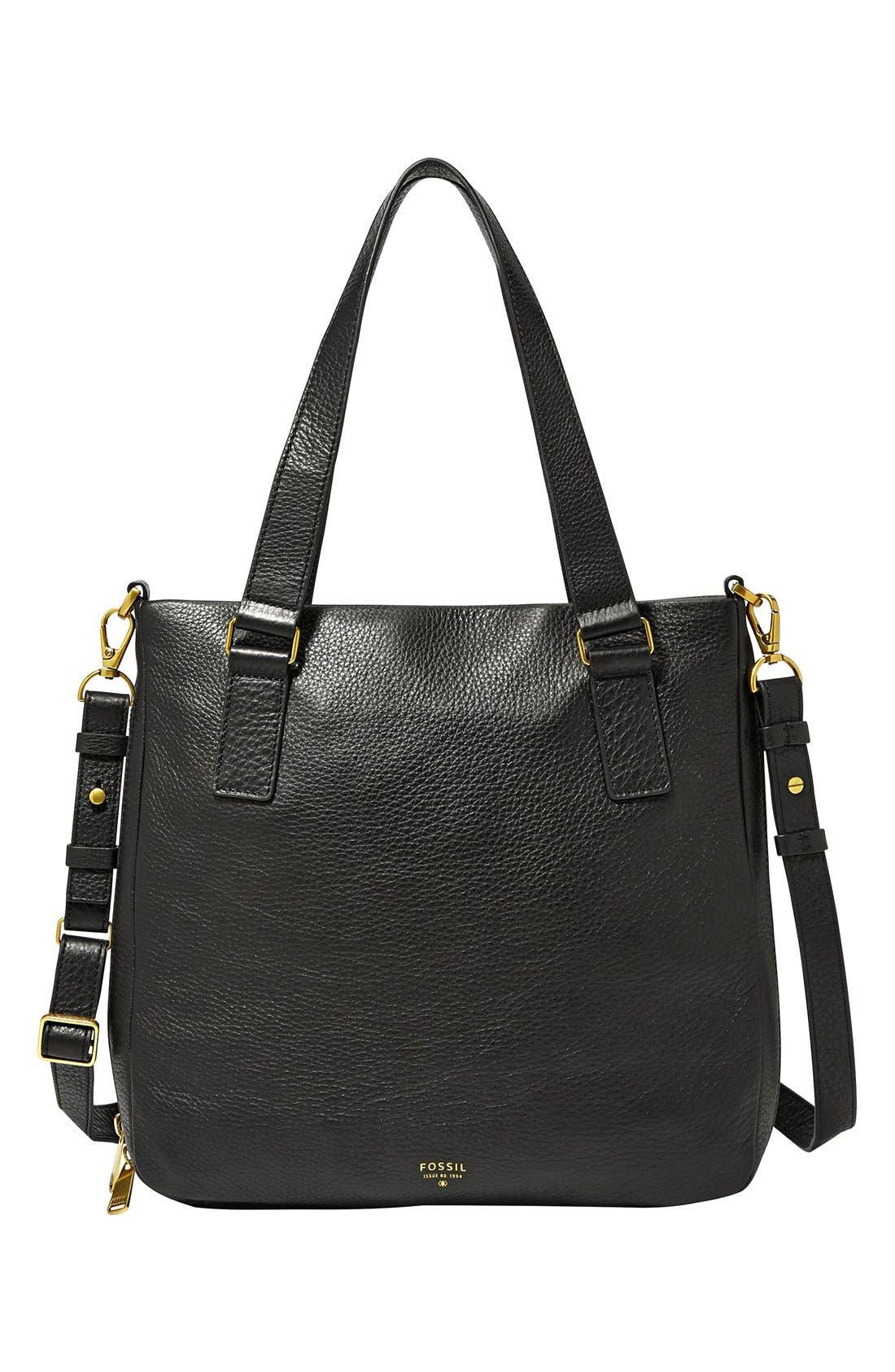 'Preston' Leather Shopper,                             Main thumbnail 1, color,                             001