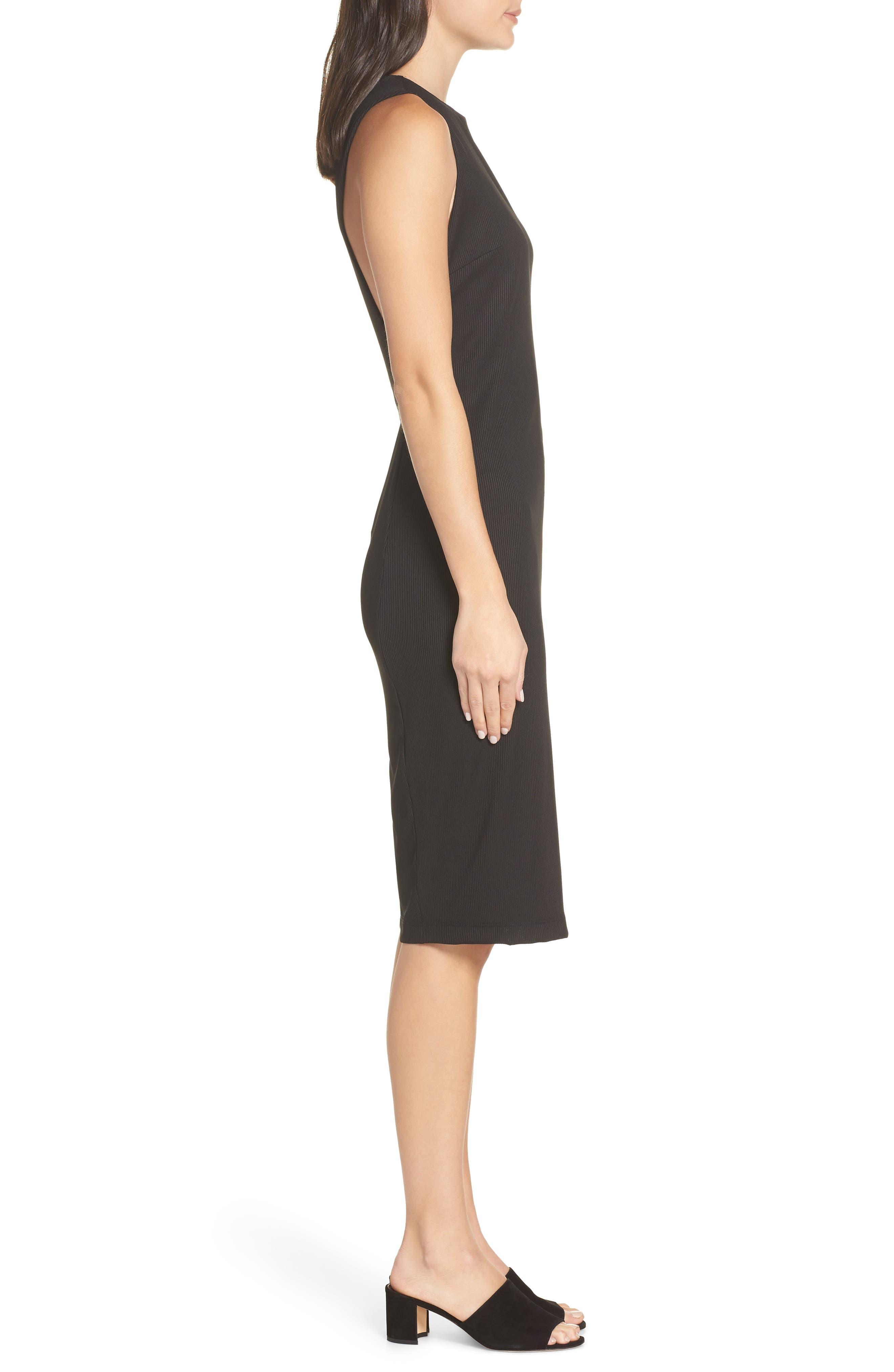 Olya Rib Sheath Dress,                             Alternate thumbnail 3, color,                             BLACK