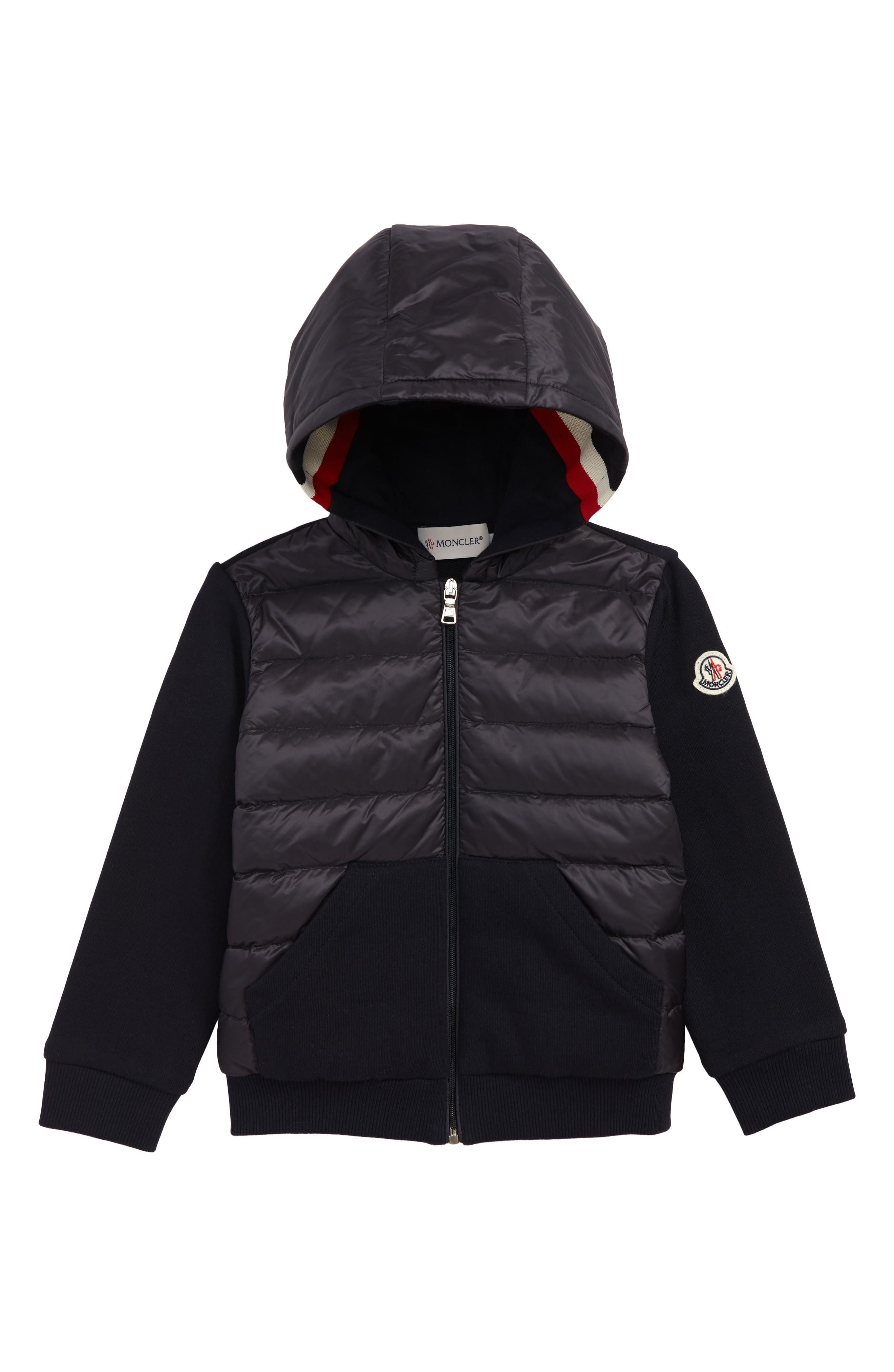 Knit Sleeve Hooded Down Jacket,                         Main,                         color, NAVY