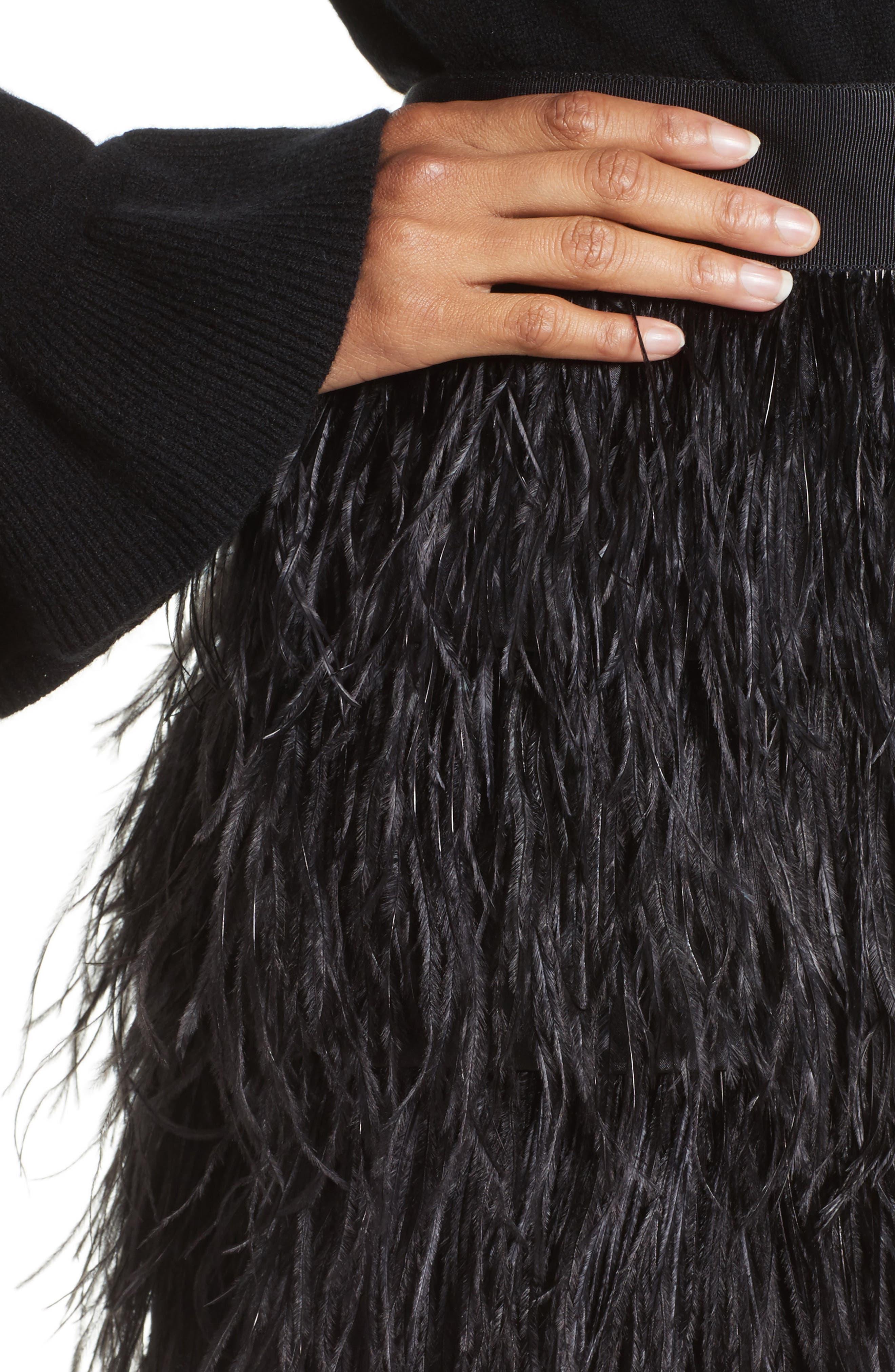 Feather Miniskirt,                             Alternate thumbnail 4, color,                             001