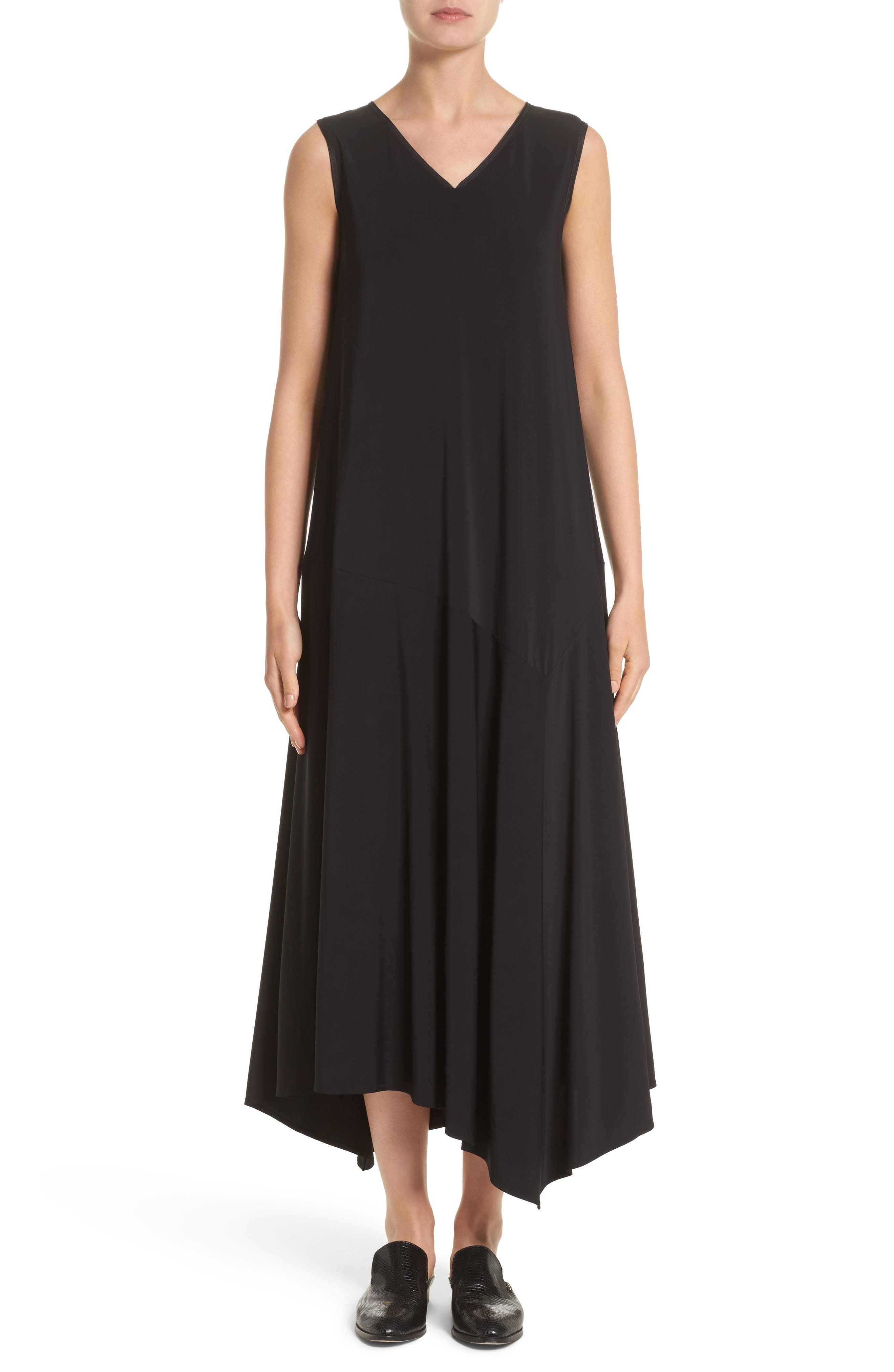Cultivated Crepe Jersey Asymmetrical Dress,                             Main thumbnail 1, color,                             001