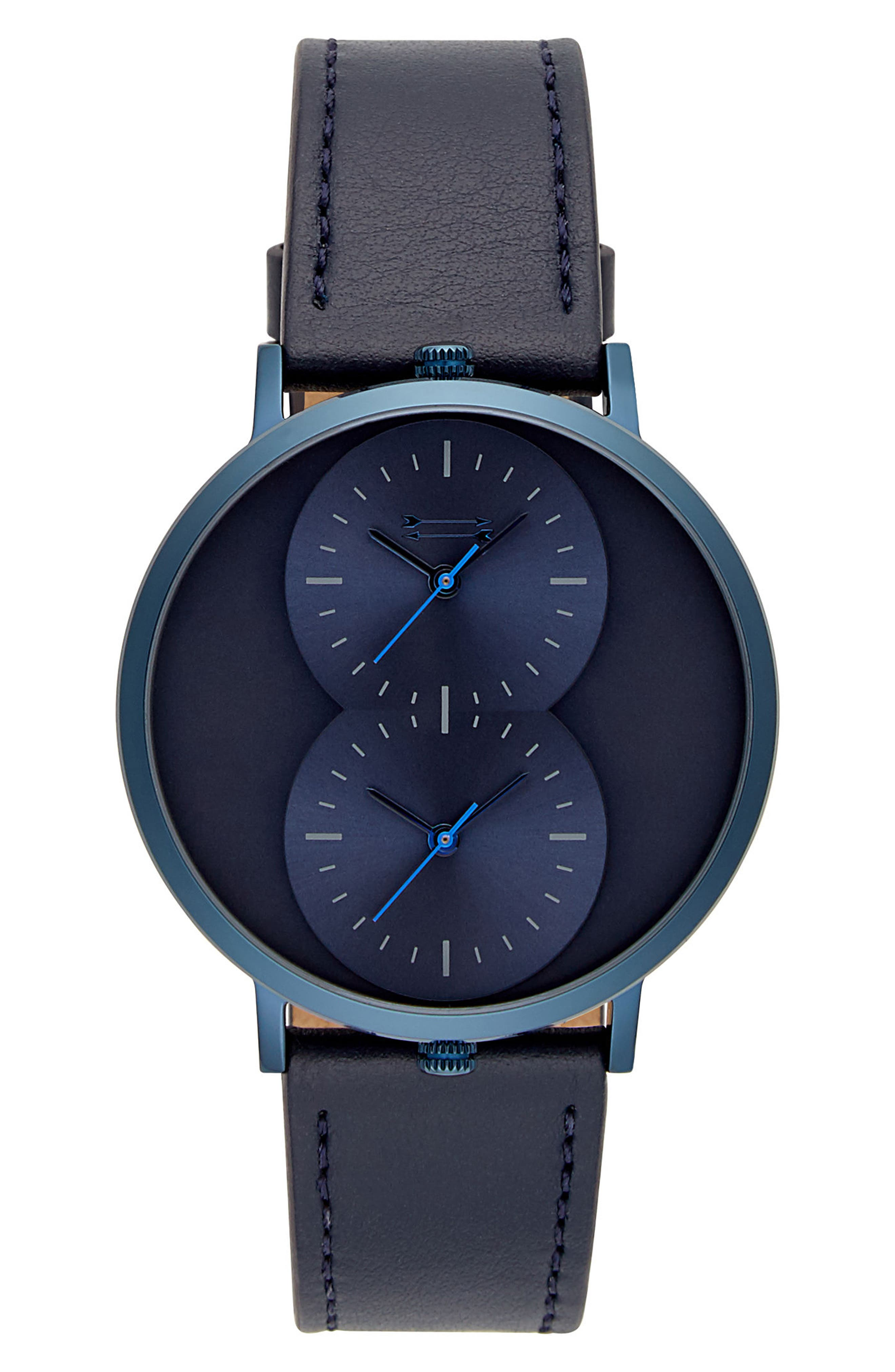Griffith Leather Strap Watch, 43mm,                         Main,                         color, BLUE