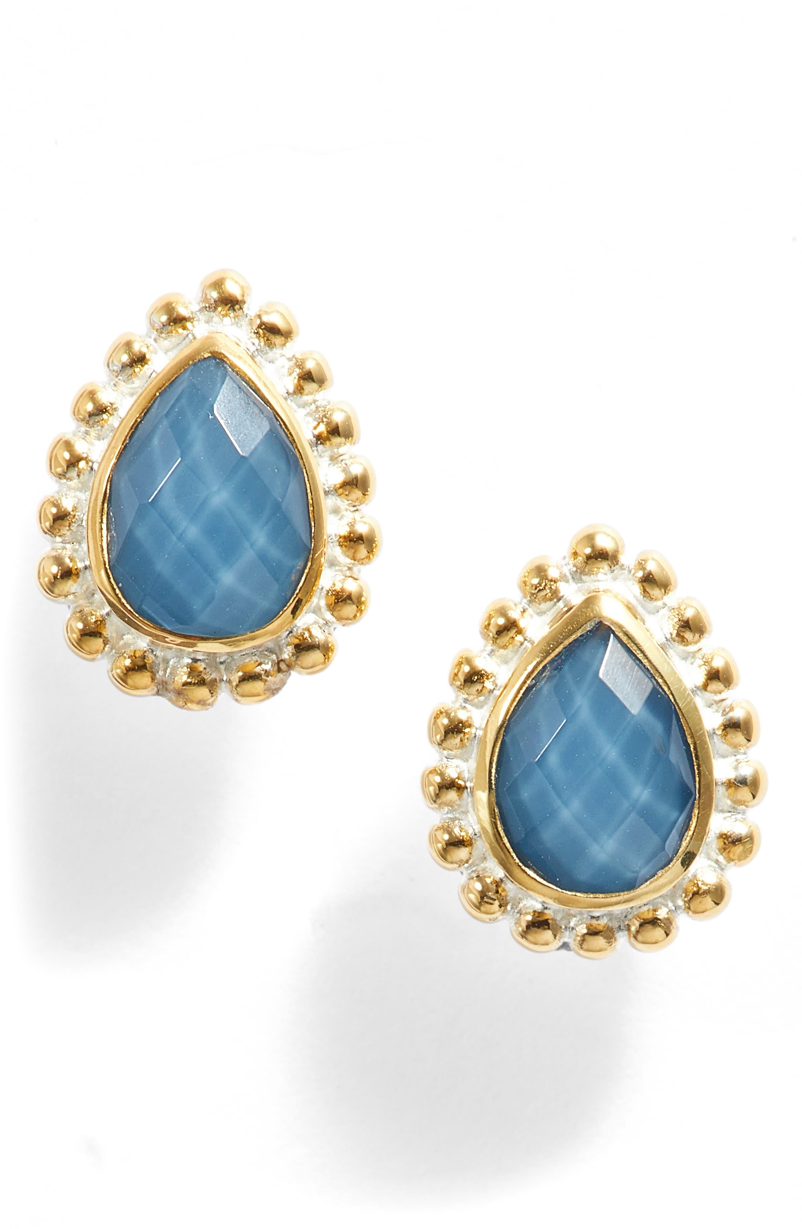 Blue Quartz Teardrop Stud Earrings,                             Main thumbnail 1, color,                             400