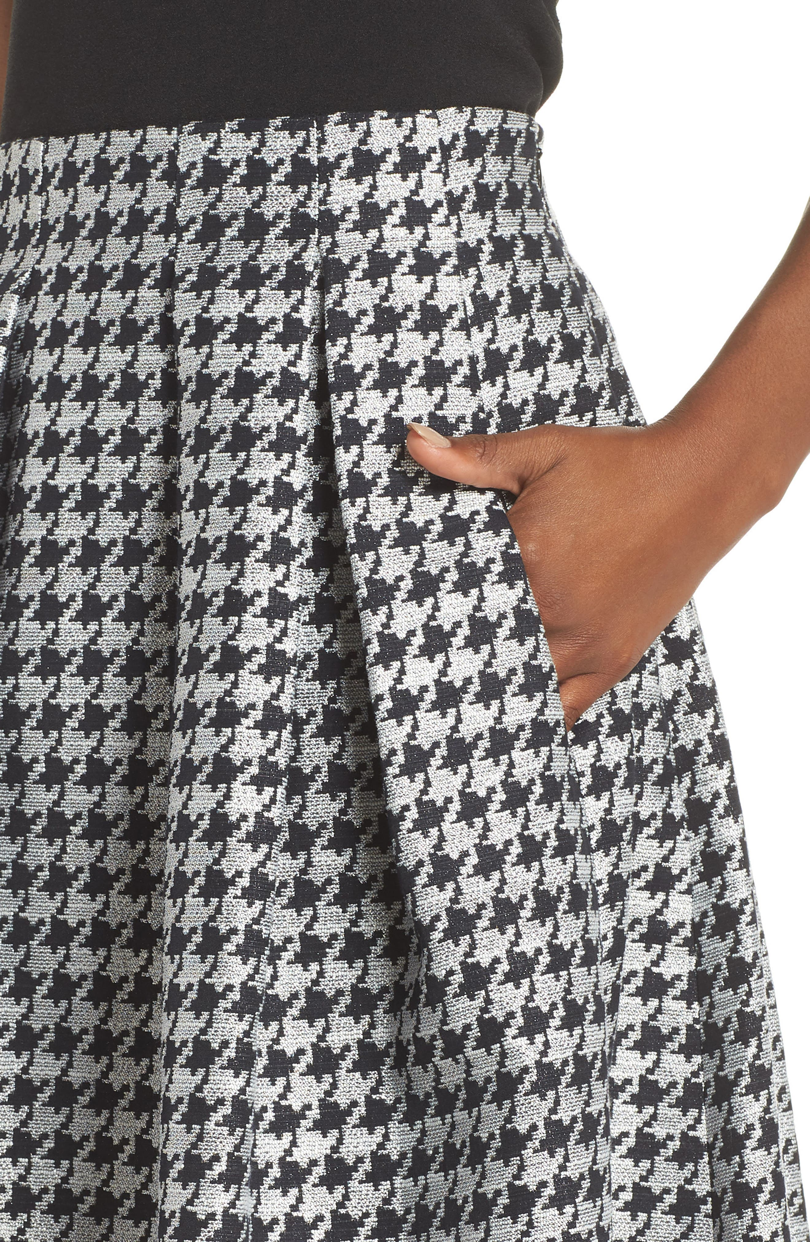 Houndstooth Pleated Skirt,                             Alternate thumbnail 4, color,                             001