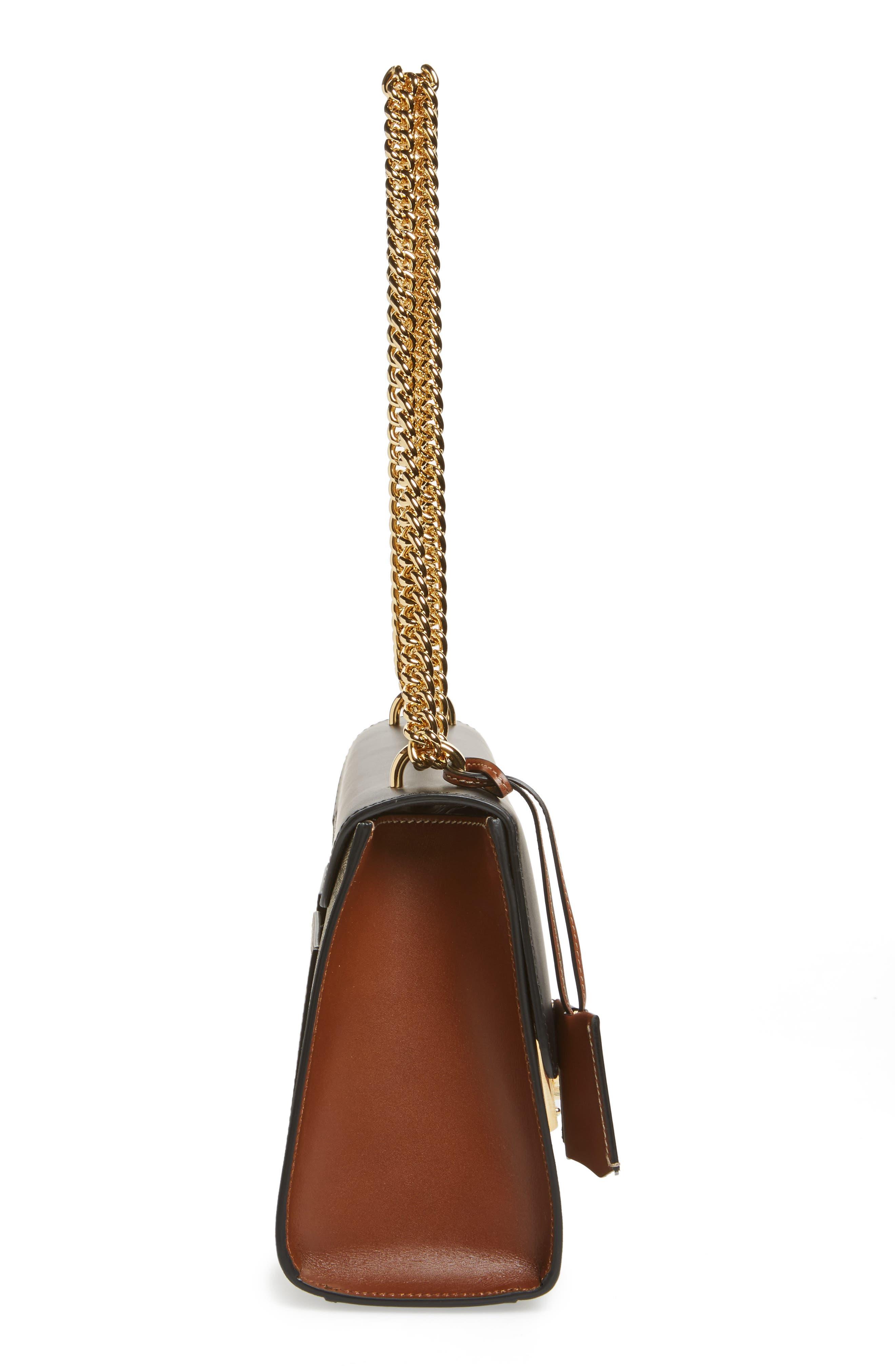 Medium Padlock Leather Shoulder Bag,                             Alternate thumbnail 5, color,                             MOON/ TOSCANO