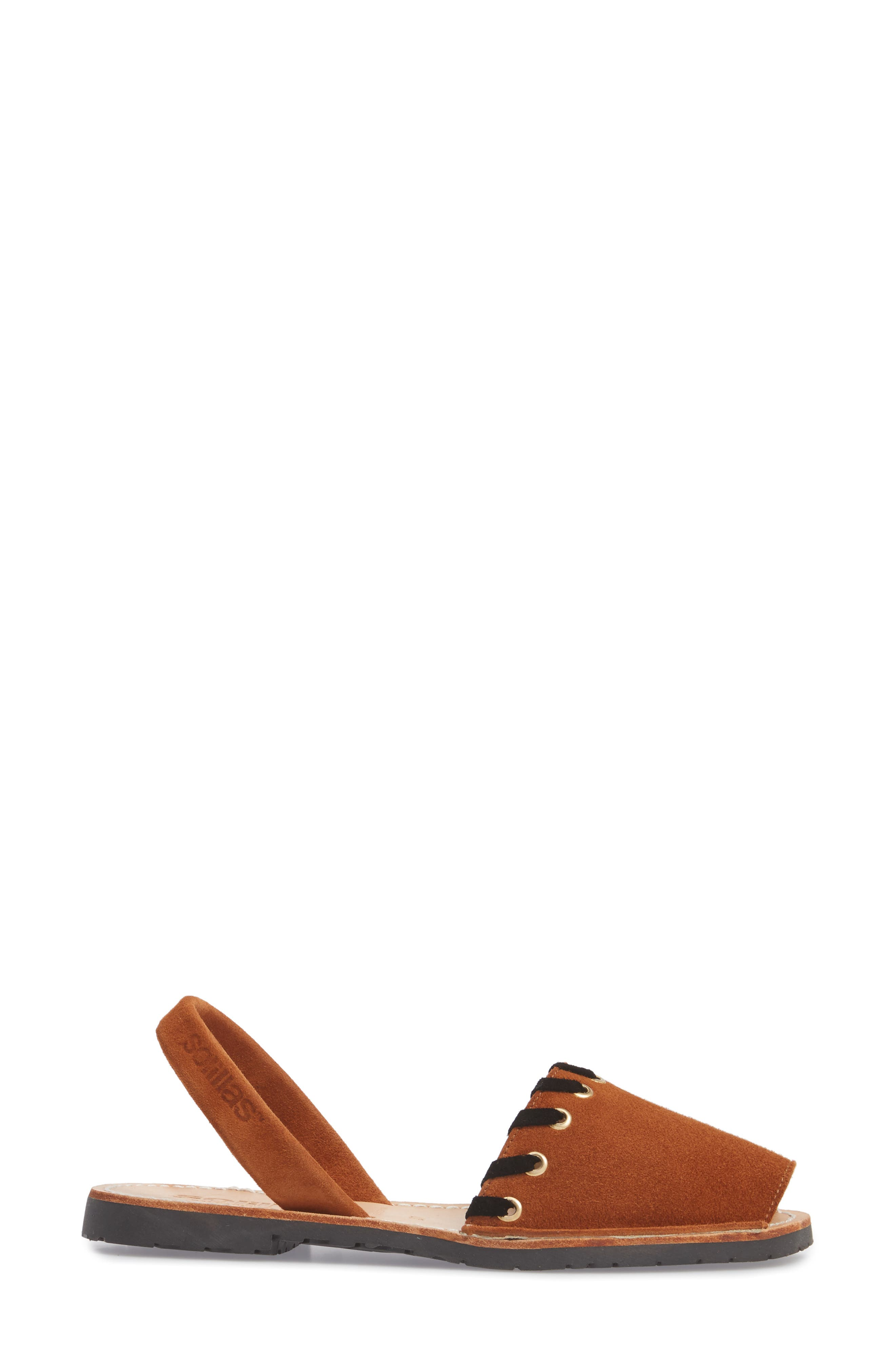 Whipstitched Flat Sandal,                             Alternate thumbnail 6, color,