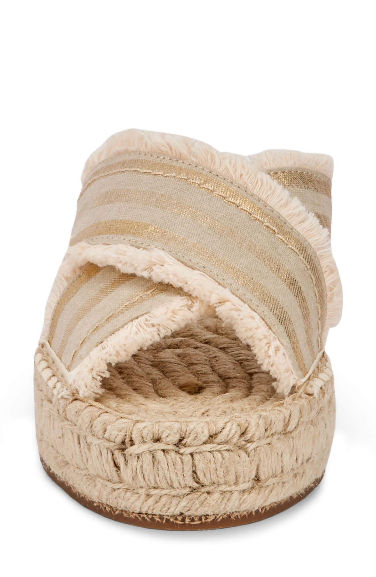 Anabelle Espadrille Sandal,                             Alternate thumbnail 4, color,                             IVORY/ GOLD FABRIC