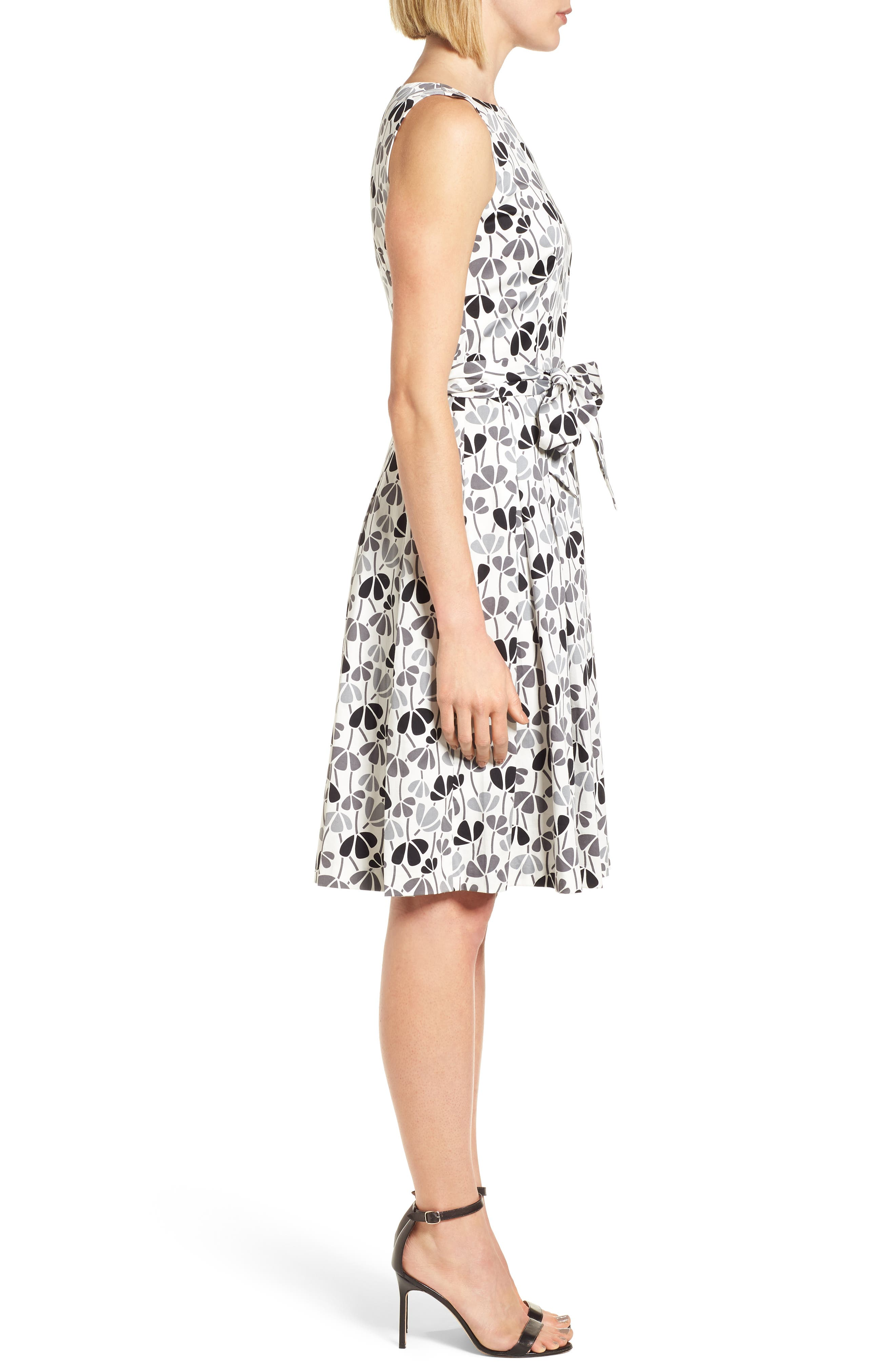 Flowerfall Fit and Flare Dress,                             Alternate thumbnail 3, color,