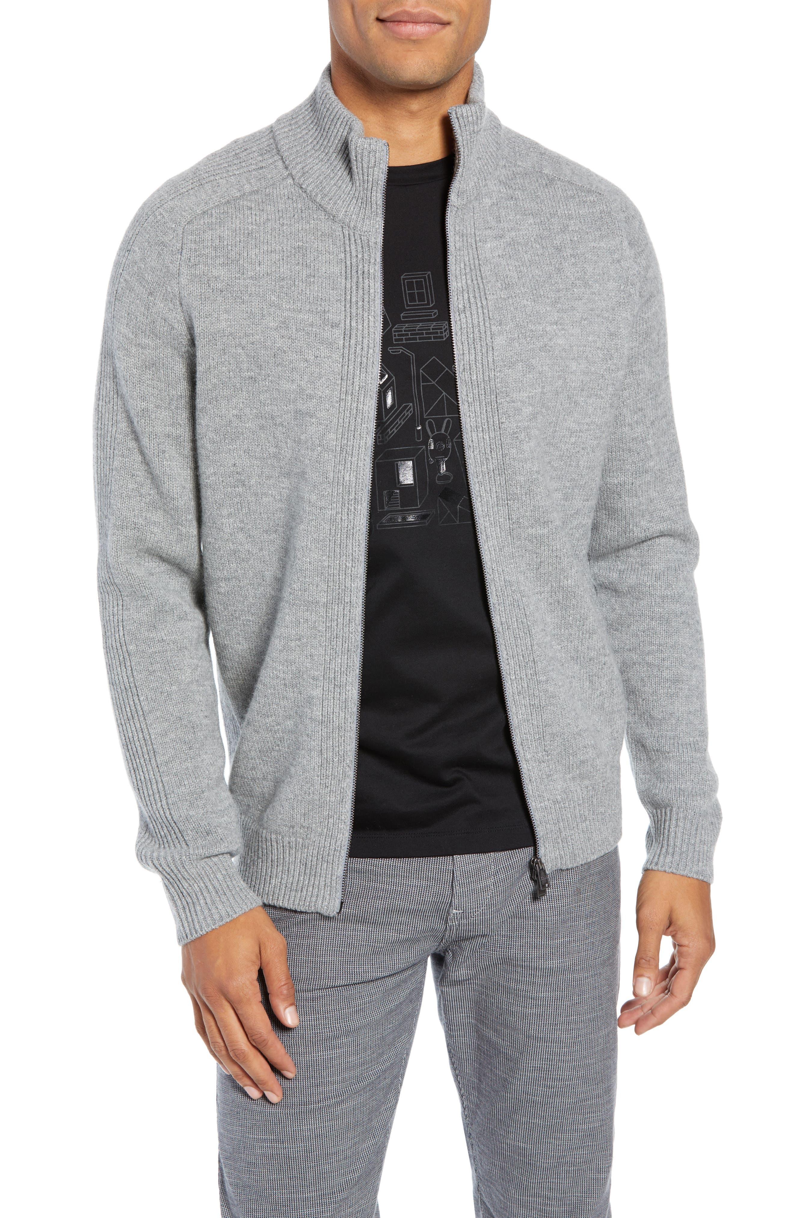Boss Erinaldo Regular Fit Virgin Wool Zip Cardigan