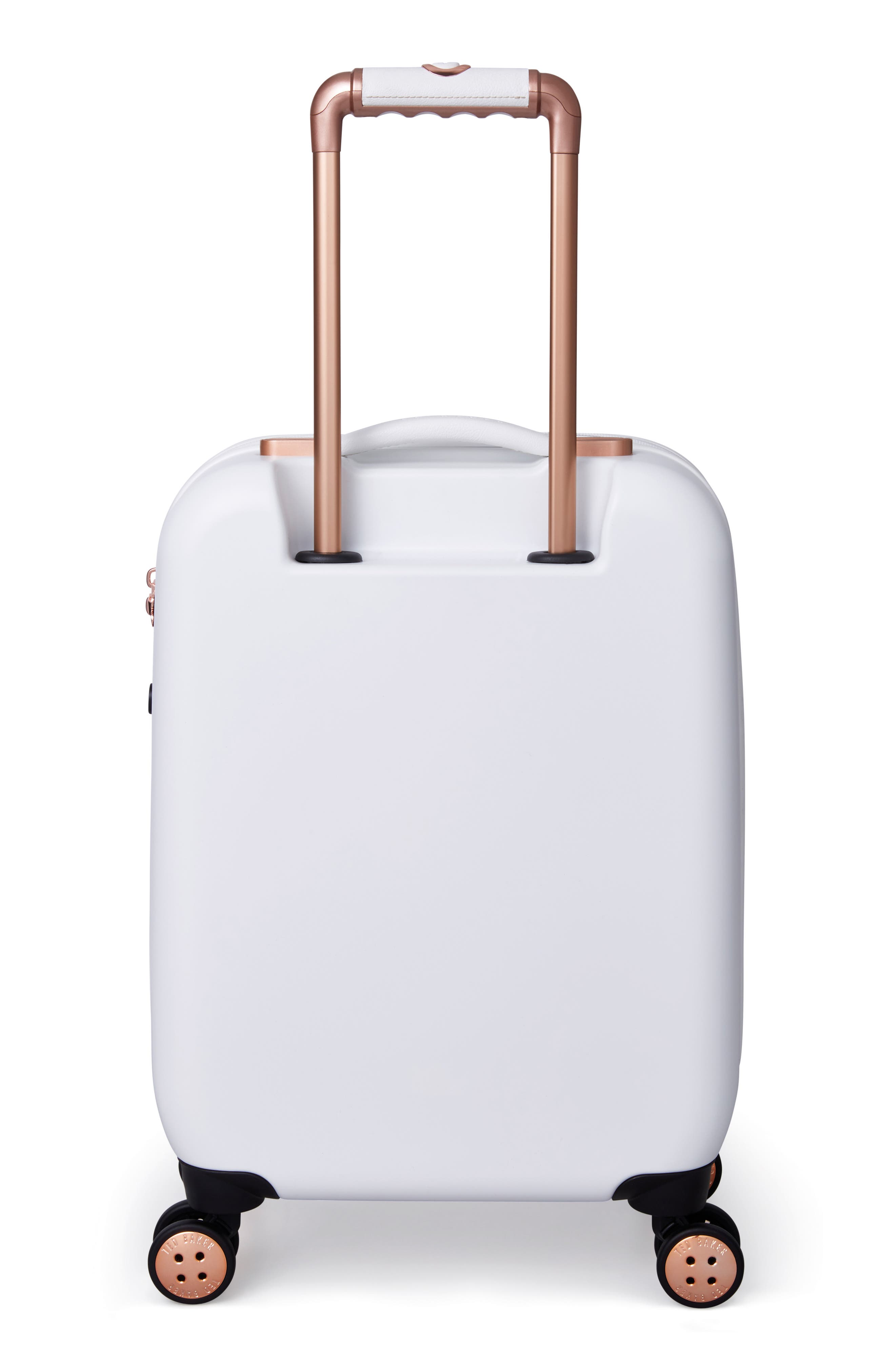 Small Beau 21-Inch Bow Embossed Four-Wheel Trolley Suitcase,                             Alternate thumbnail 4, color,                             WHITE