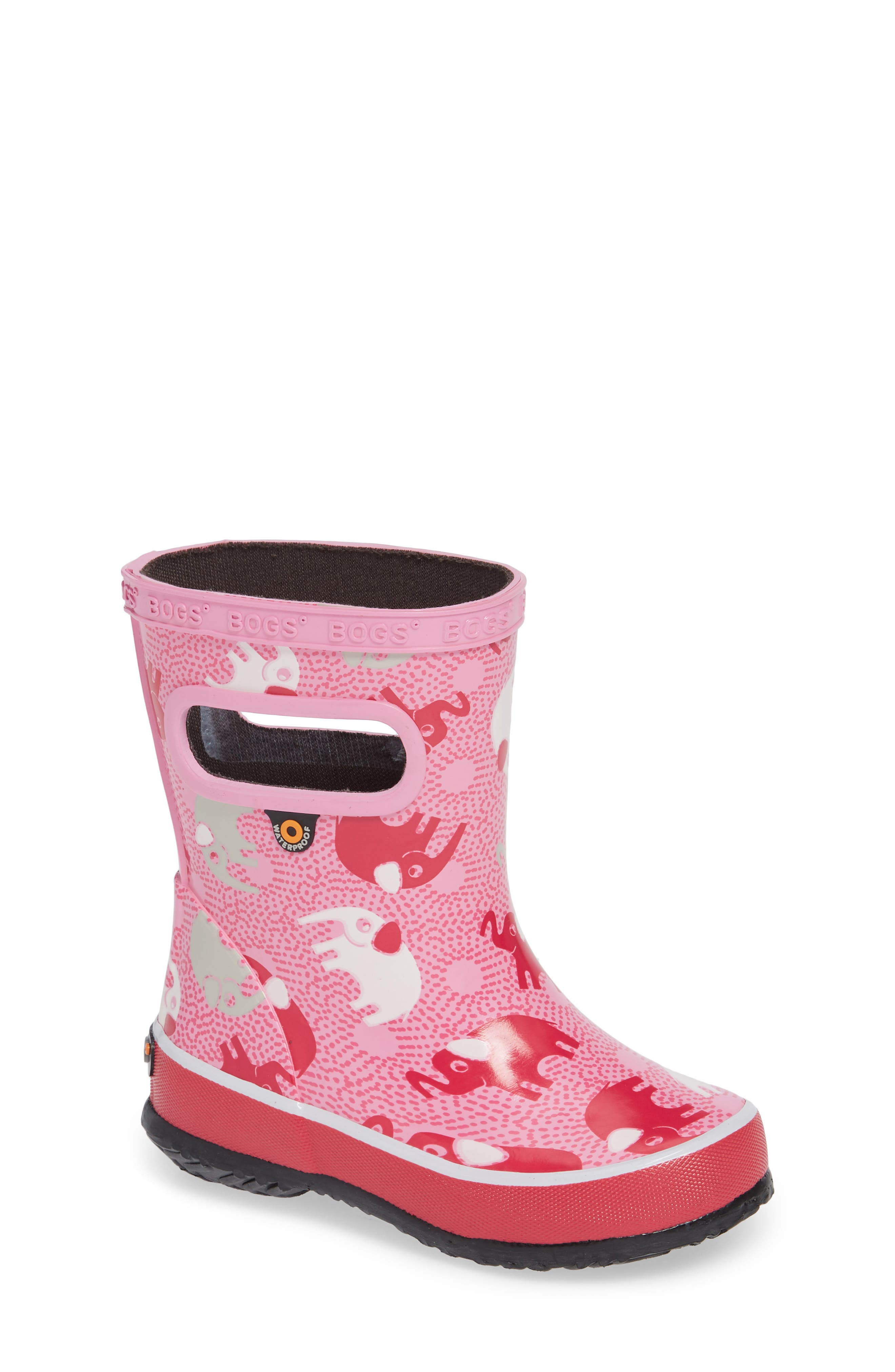 Skipper Elephant Print Rubber Rain Boot,                         Main,                         color, PINK MULTI