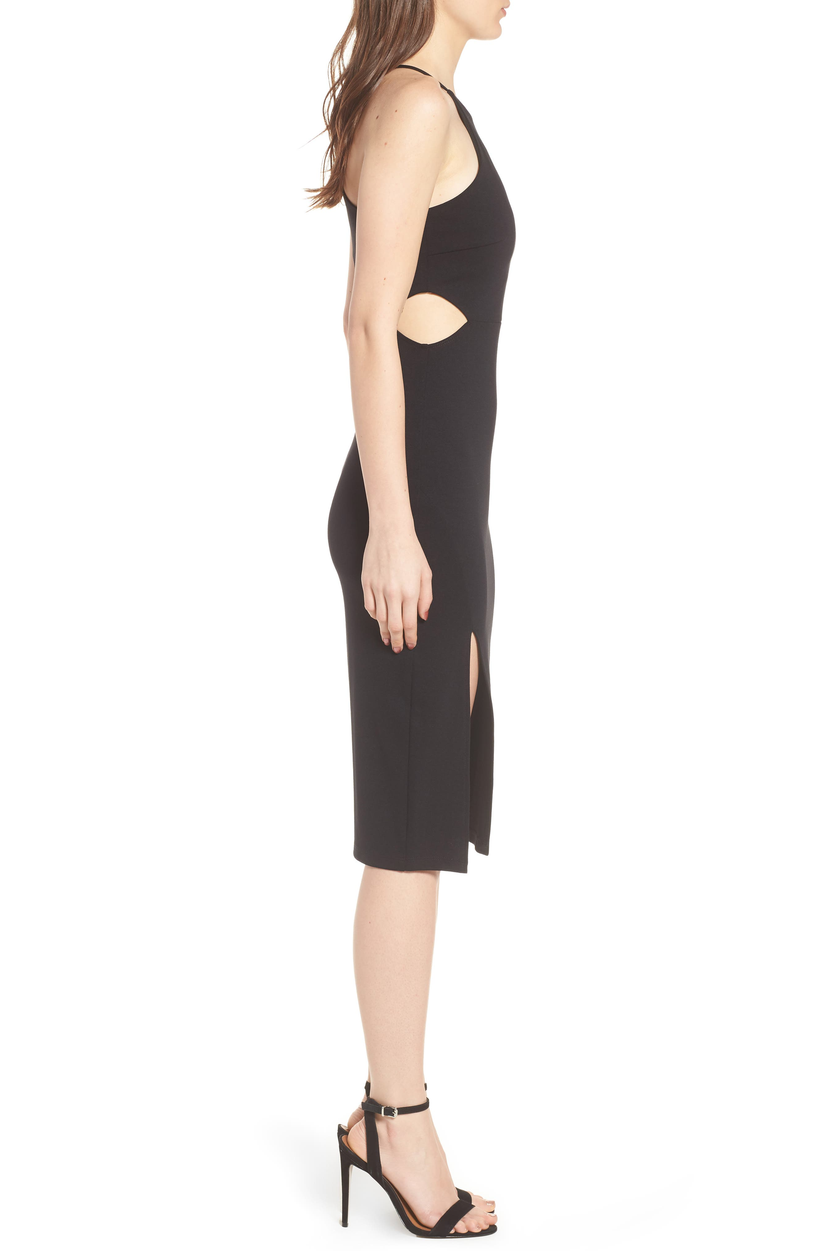 Side Cutout Body Con Dress,                             Alternate thumbnail 3, color,                             001