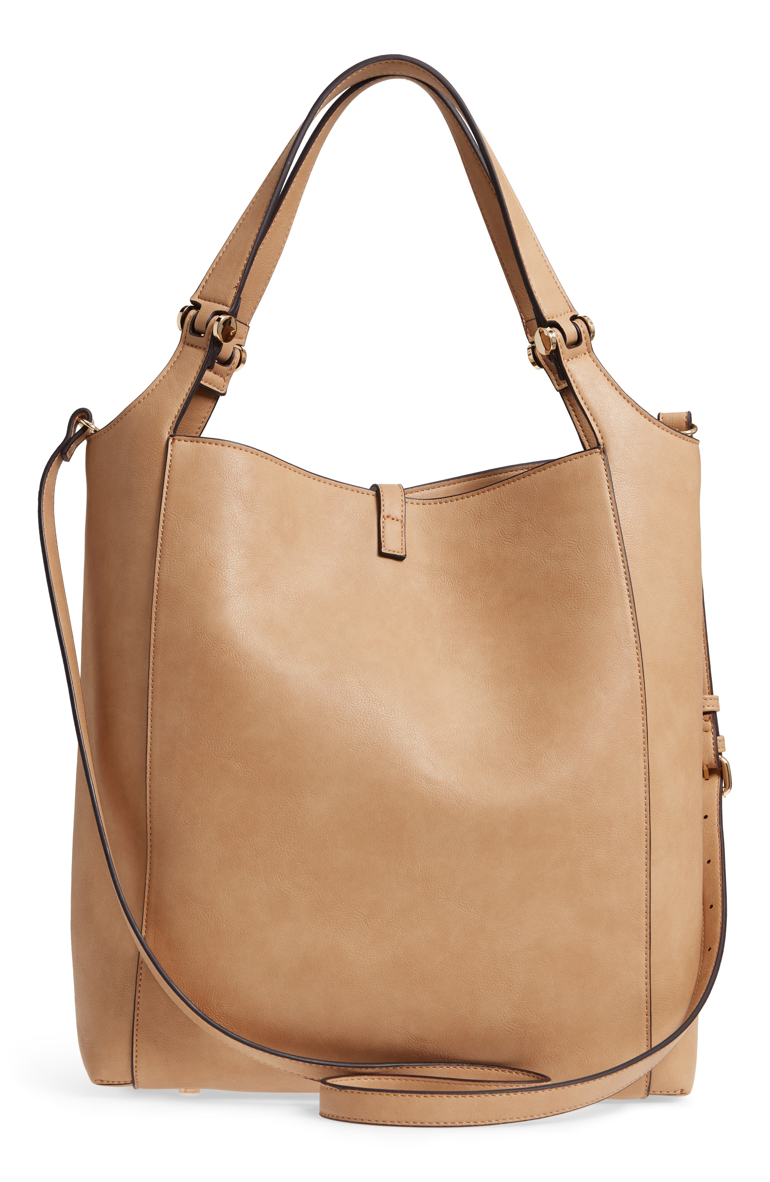 Large Studded Faux Leather Tote,                             Alternate thumbnail 6, color,