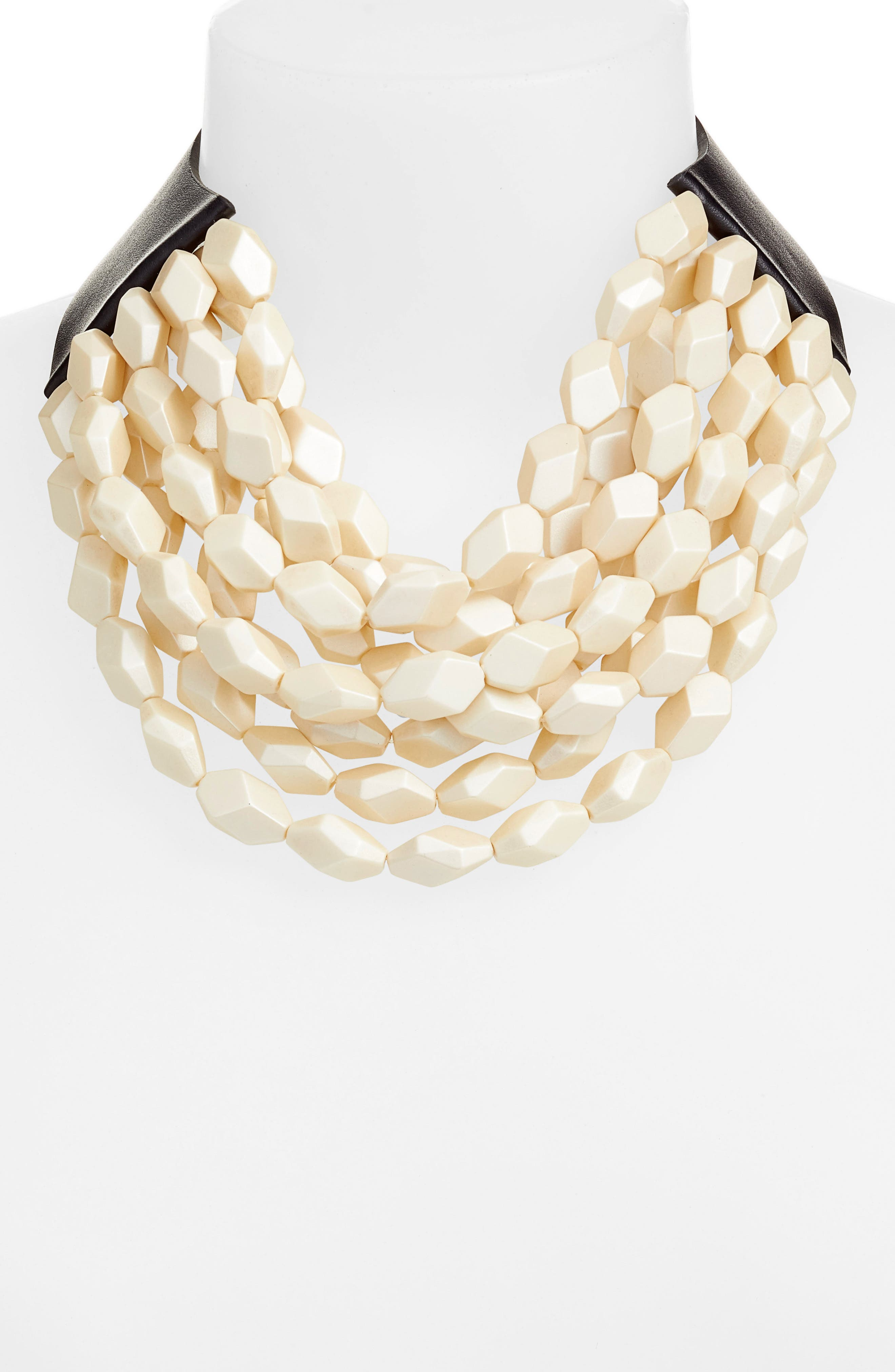 Oval Bella Beaded Collar Necklace,                             Alternate thumbnail 2, color,                             PEARLIZED