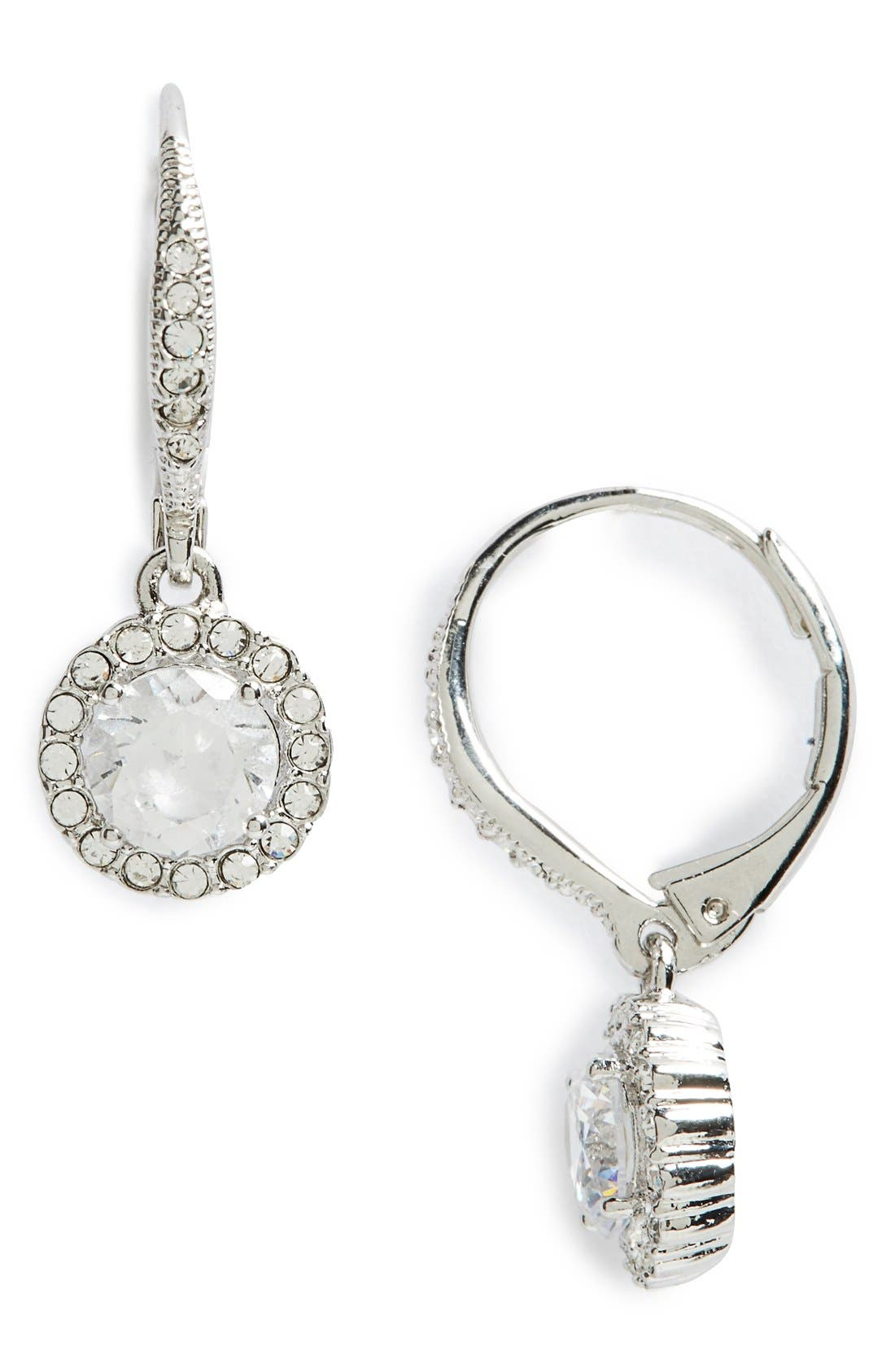 Cubic Zirconia Drop Earrings,                             Main thumbnail 1, color,                             SILVER/ CLEAR CRYSTAL