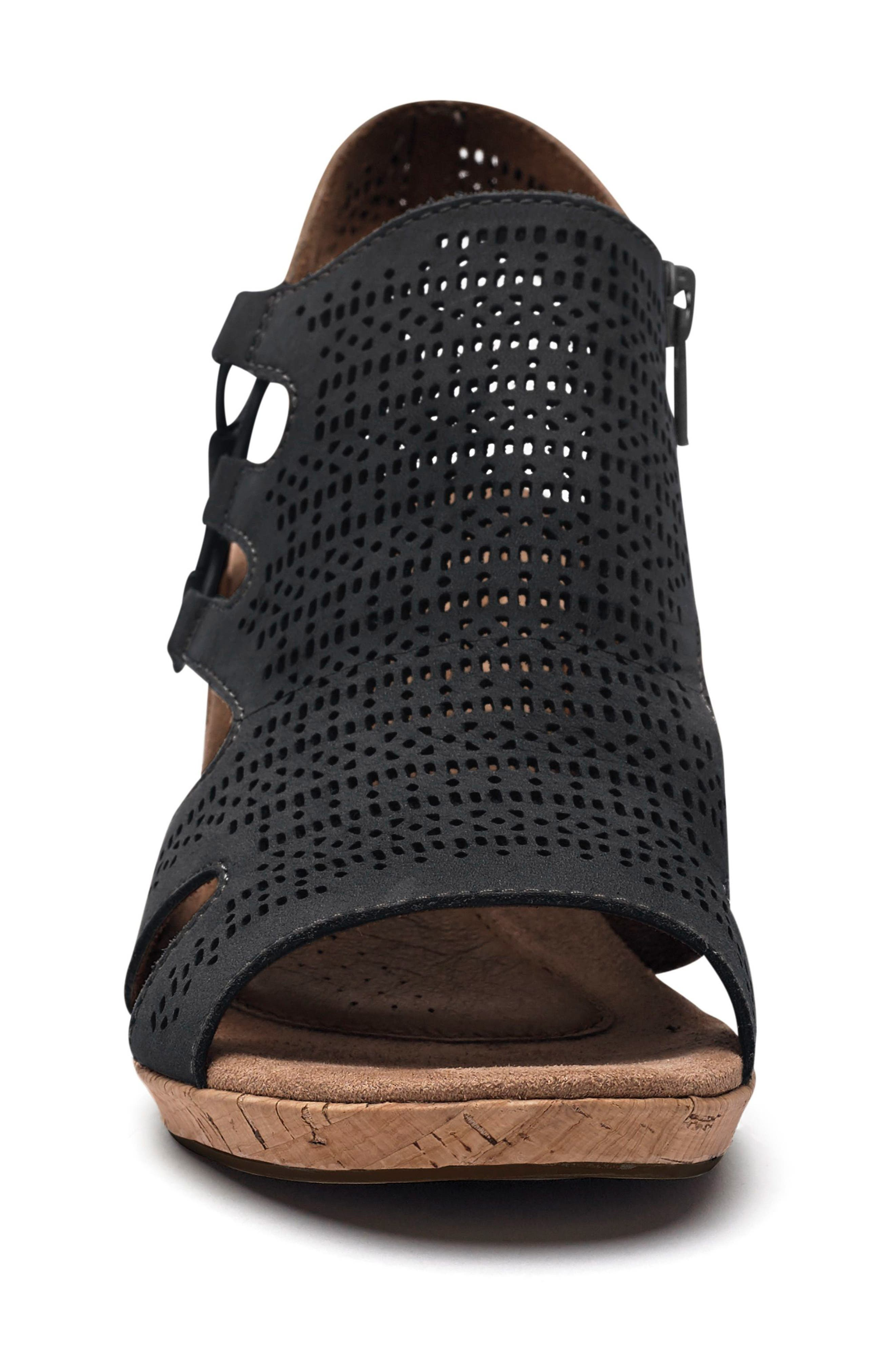 Janna Perforated Wedge Sandal,                             Alternate thumbnail 4, color,                             BLACK NUBUCK LEATHER