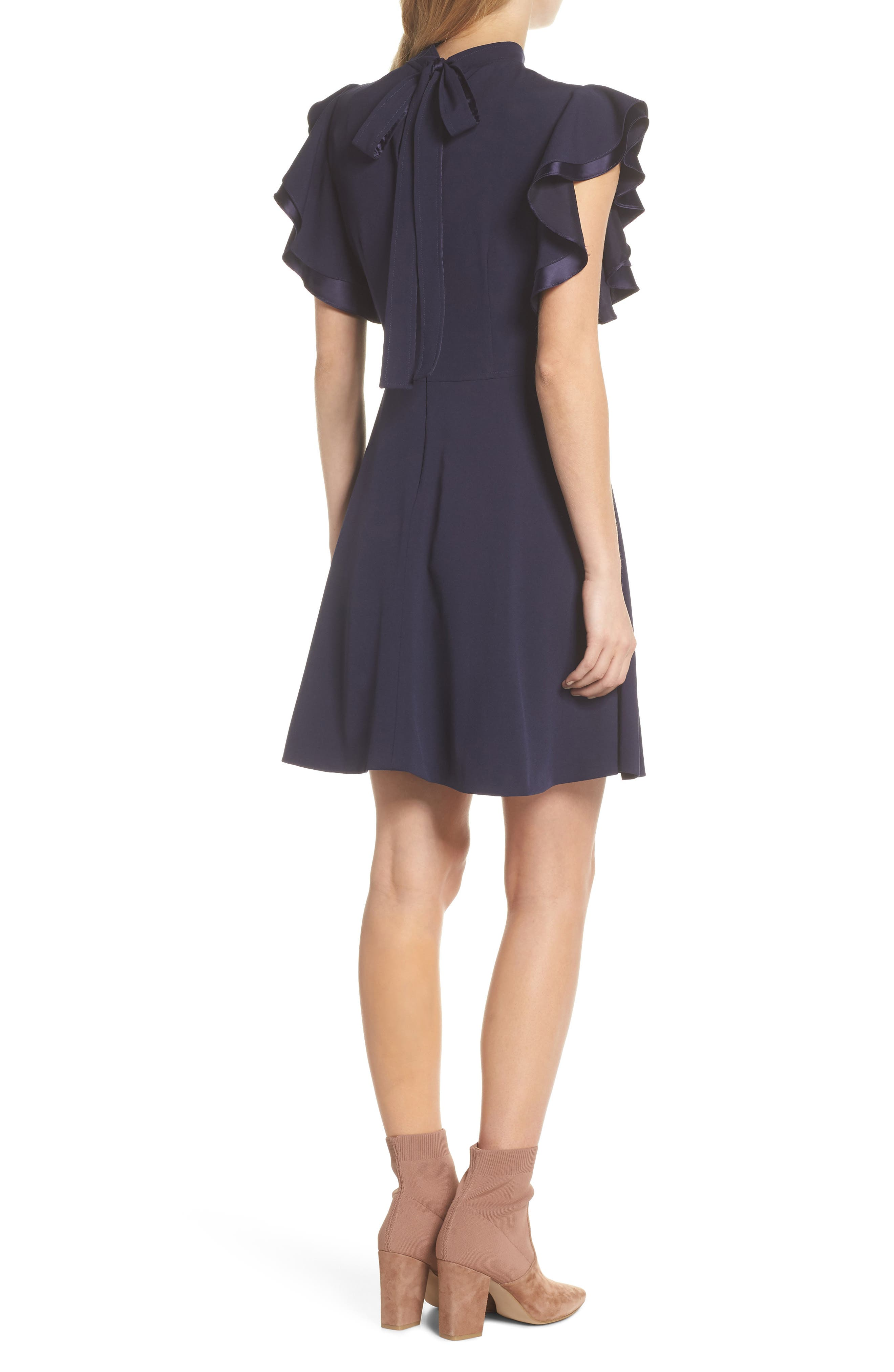 Crepe Fit & Flare Dress,                             Alternate thumbnail 2, color,                             NAVY SAPPHIRE