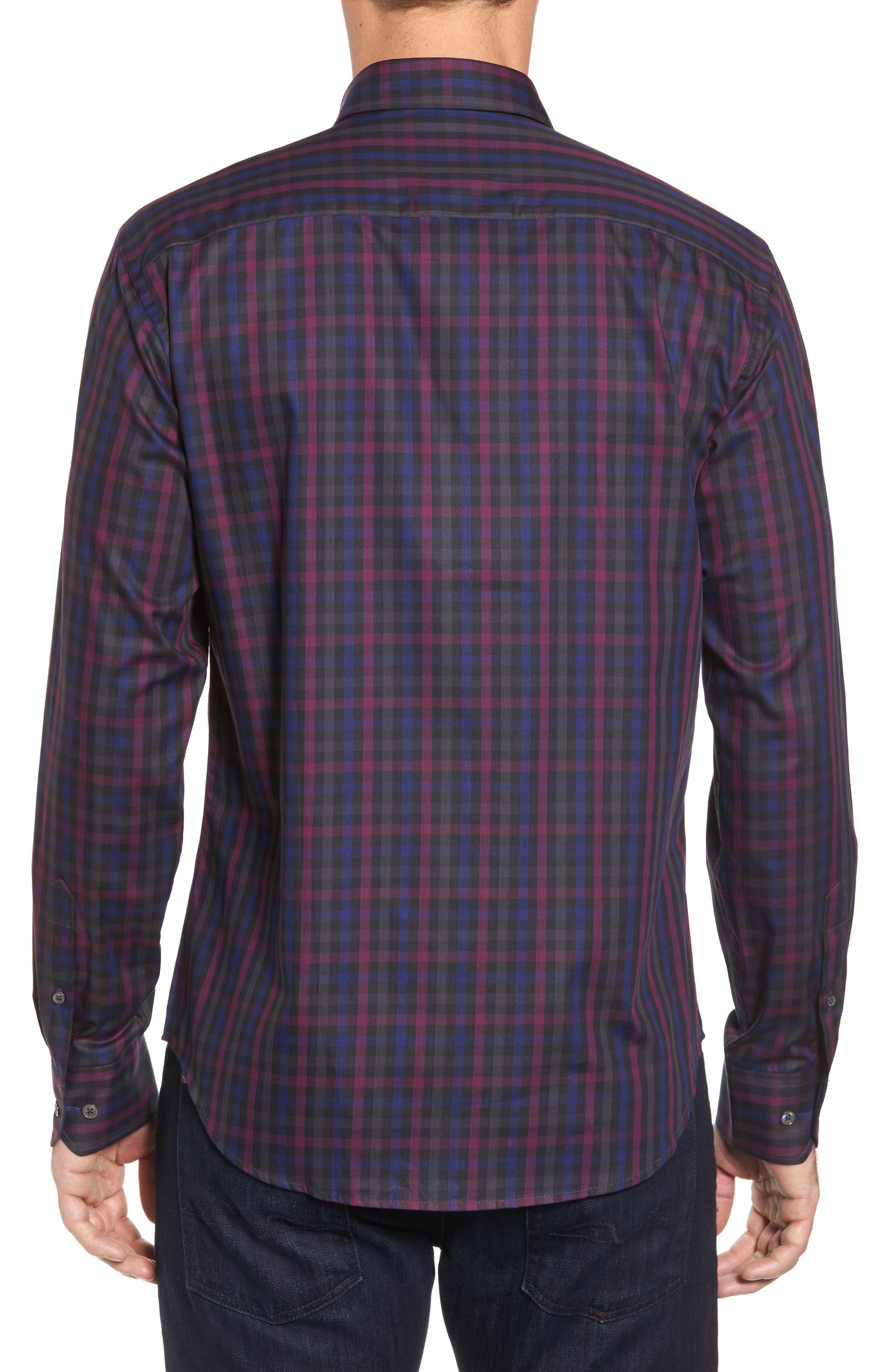 Shaped Fit Herringbone Plaid Sport Shirt,                             Alternate thumbnail 2, color,                             503
