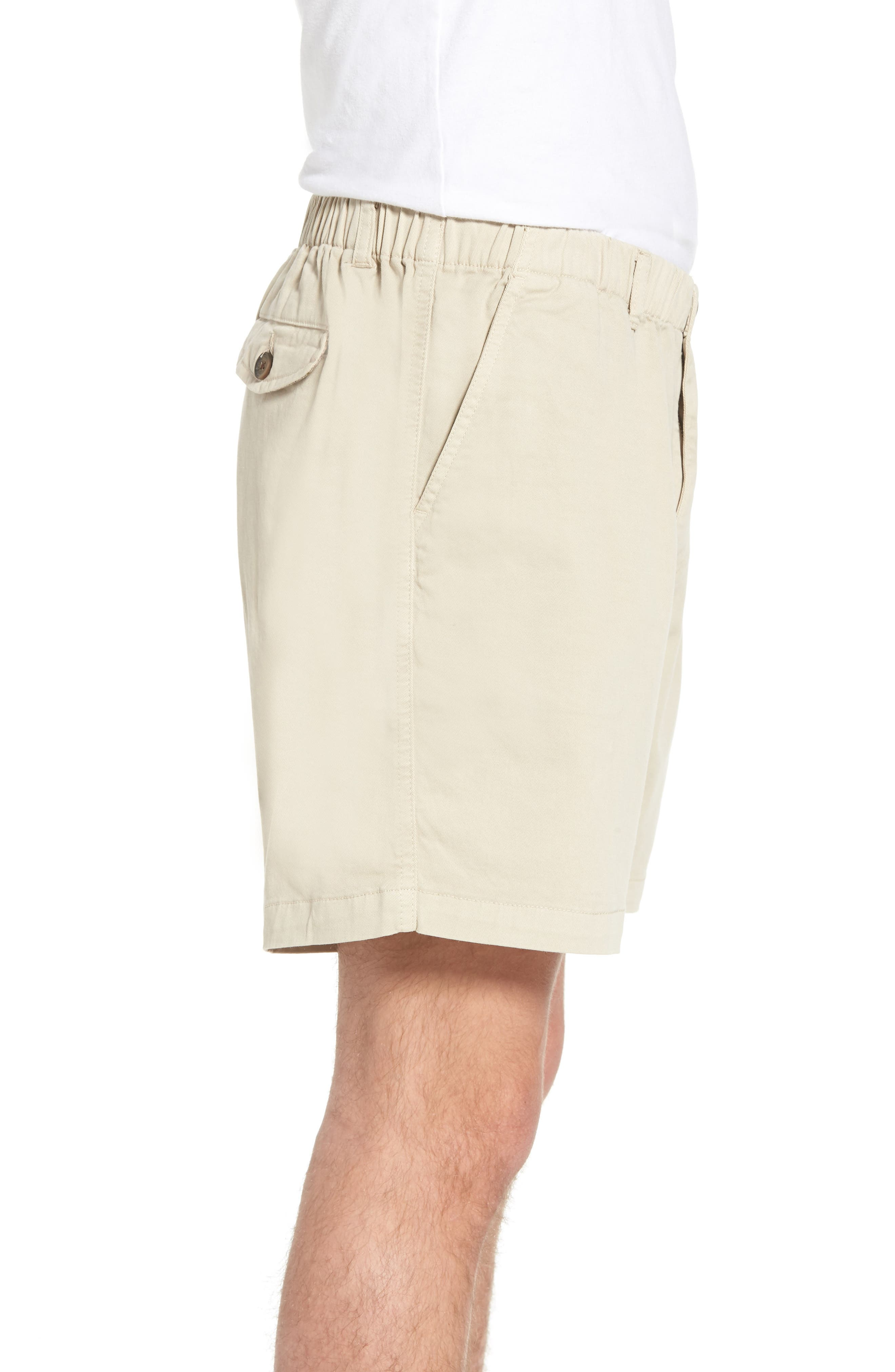 7in Snappers Elastic Waist Shorts,                             Alternate thumbnail 3, color,                             STONE